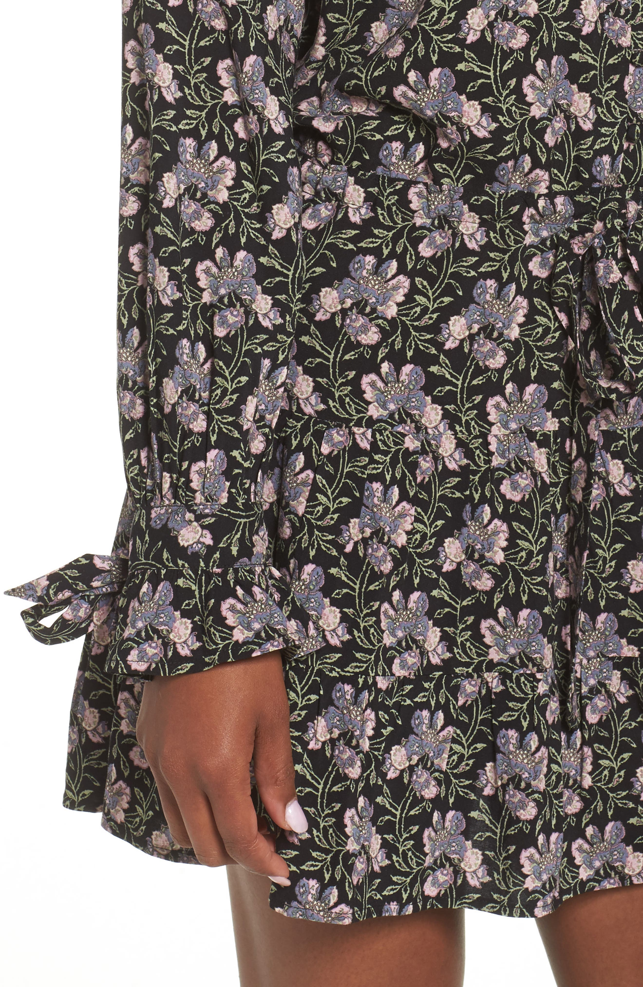 Denisa Floral Tie Cuff Minidress,                             Alternate thumbnail 4, color,                             Storm Cloud Multi