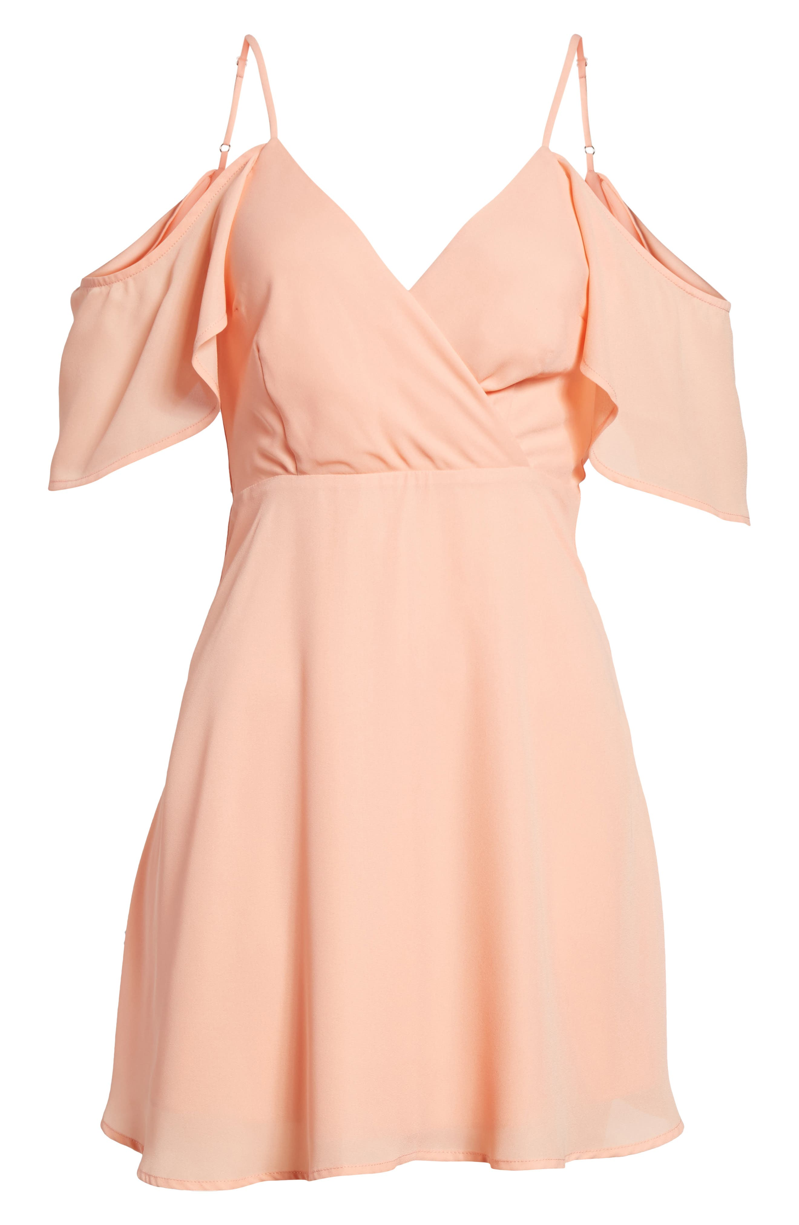 Cold Shoulder Minidress,                             Alternate thumbnail 6, color,                             Peach