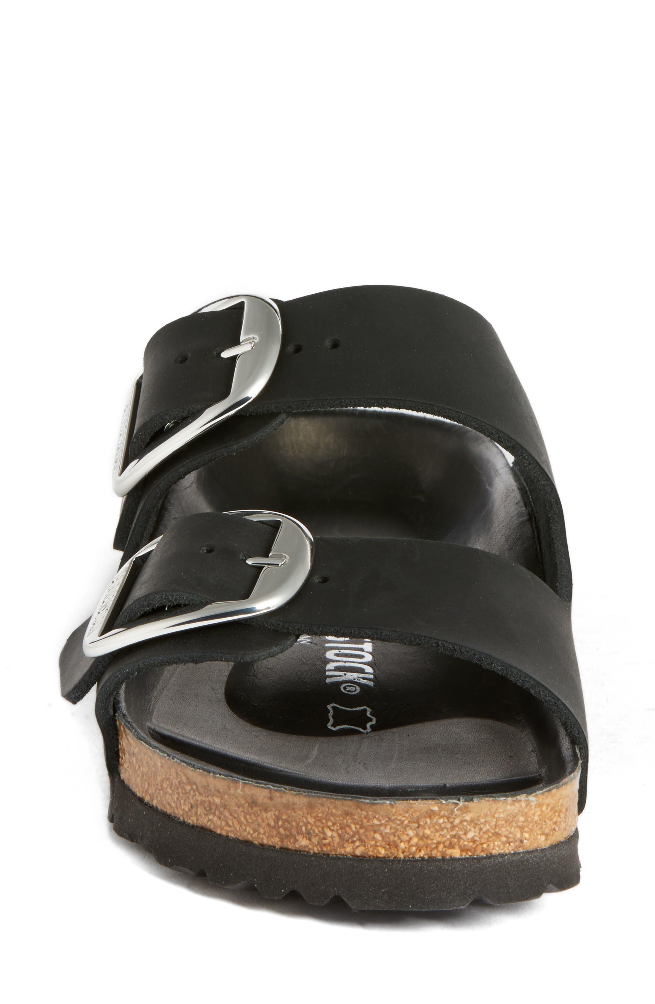 Arizona Big Buckle Slide Sandal,                             Alternate thumbnail 4, color,                             Black Leather