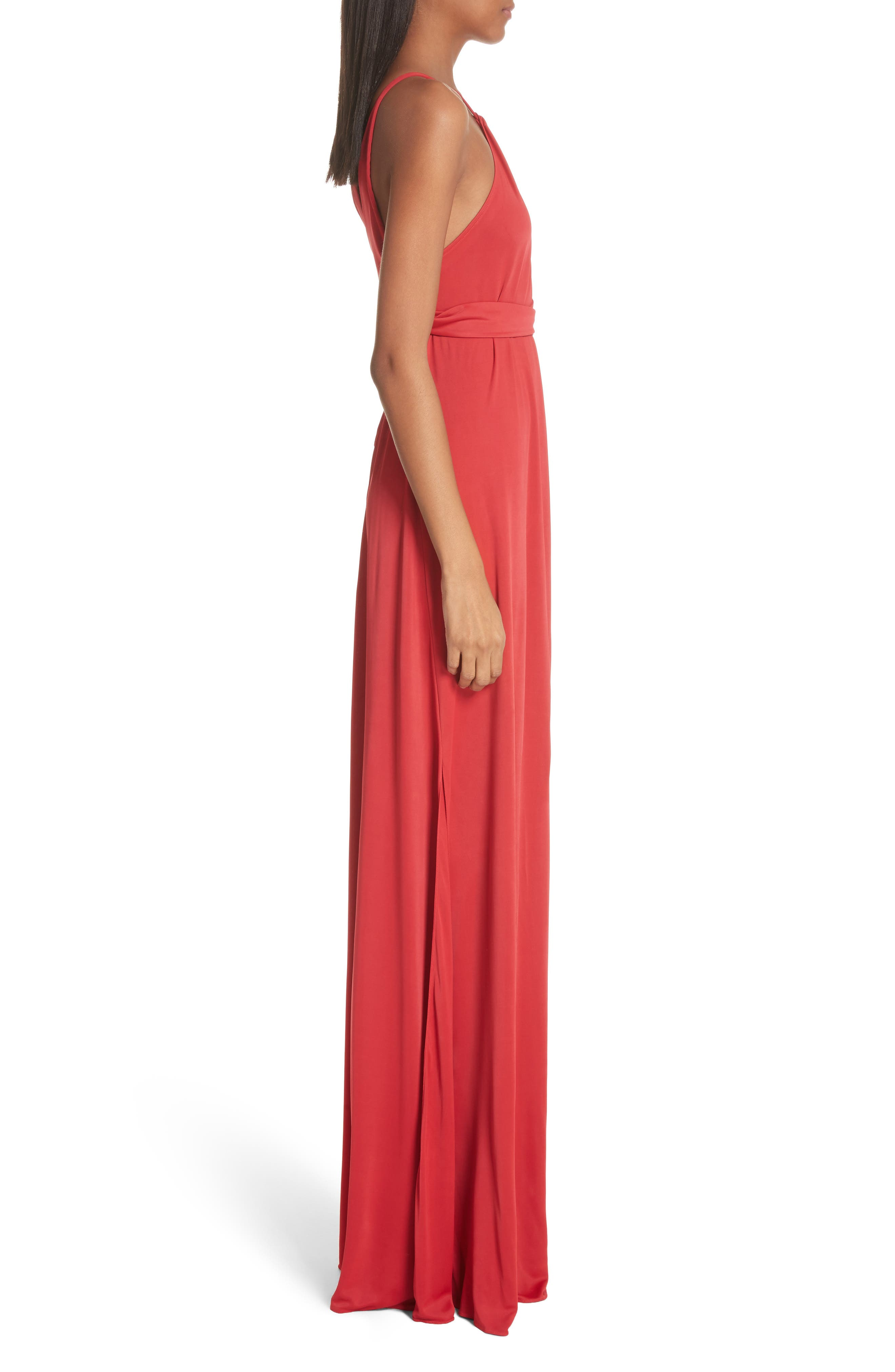 Back Cutout Jersey Gown,                             Alternate thumbnail 3, color,                             Red