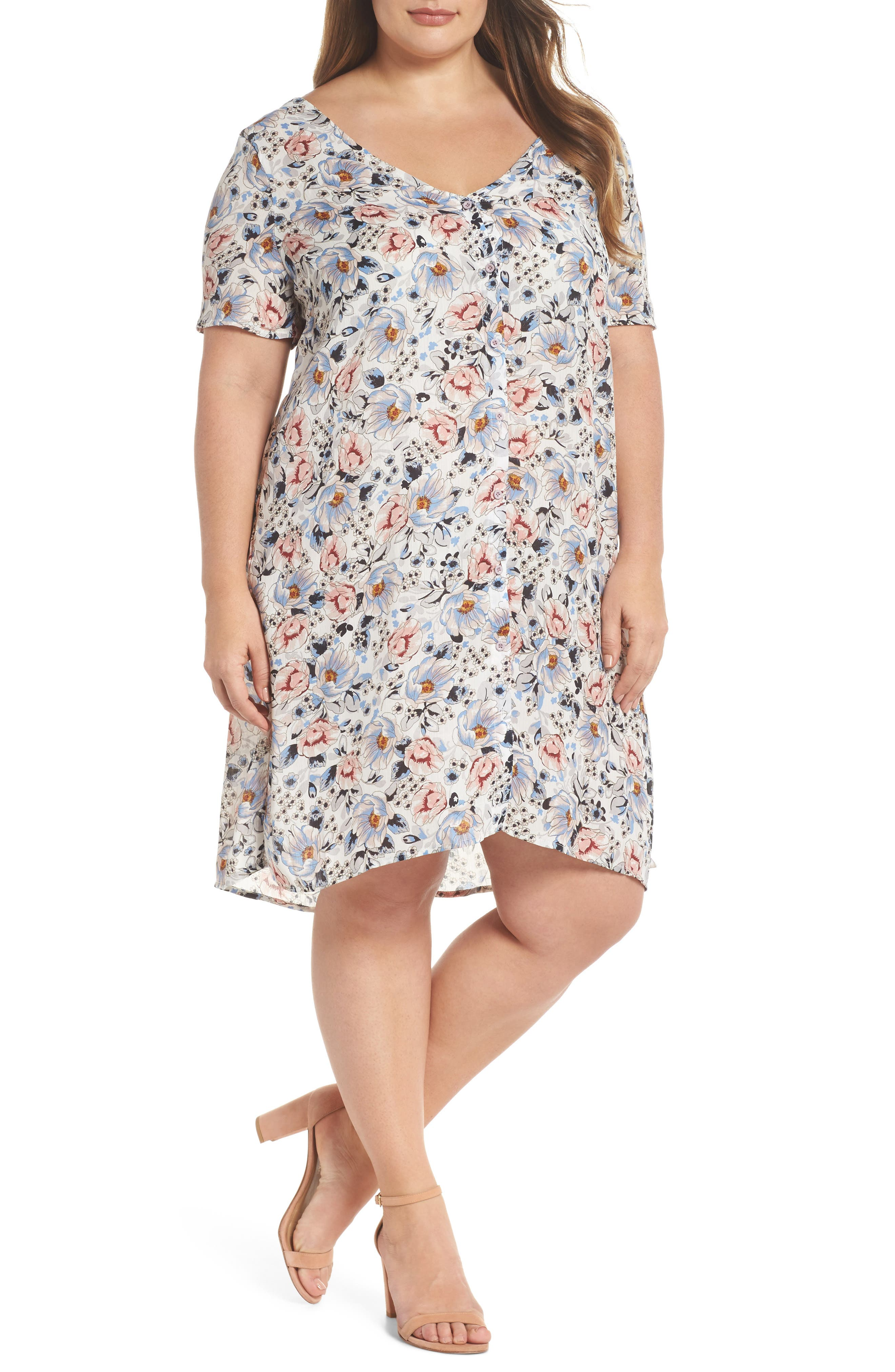 Glamorous Button Front Trapeze Dress (Plus Size)