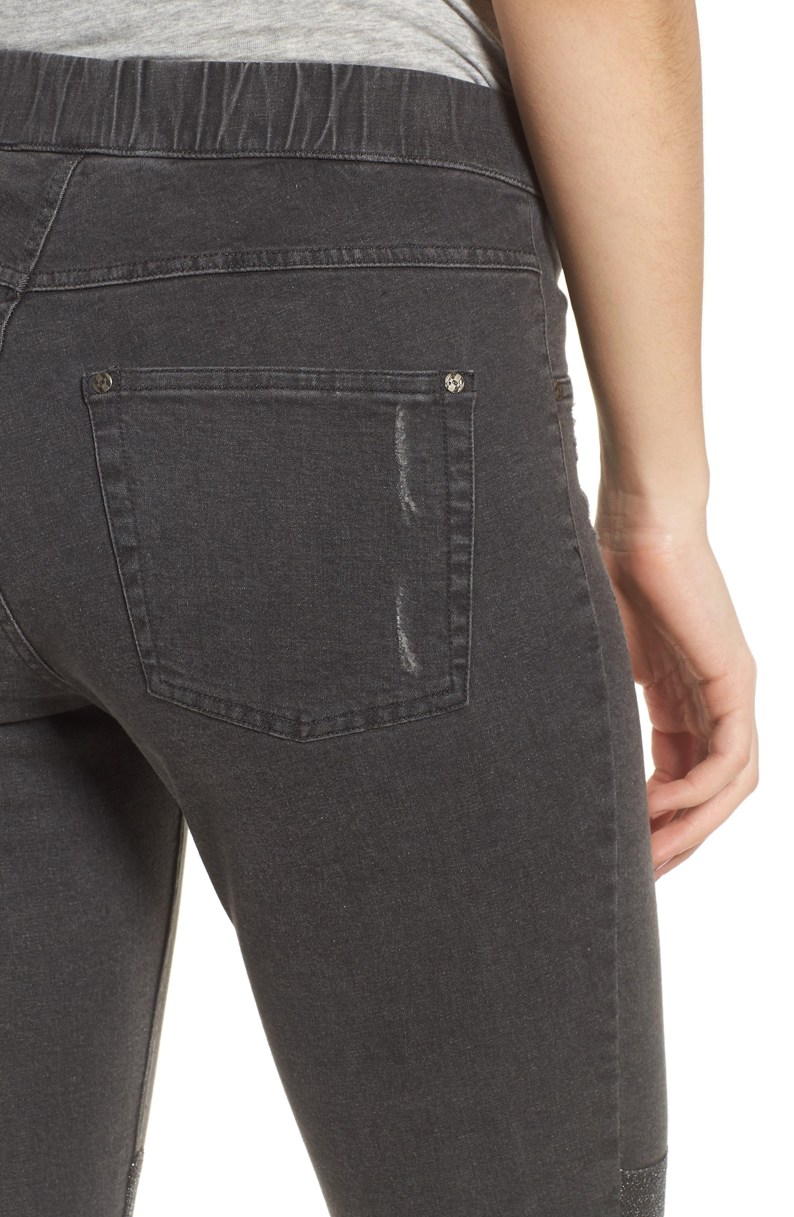 Metallic Knee Patch Denim Skimmer Leggings,                             Alternate thumbnail 4, color,                             Graphite Wash