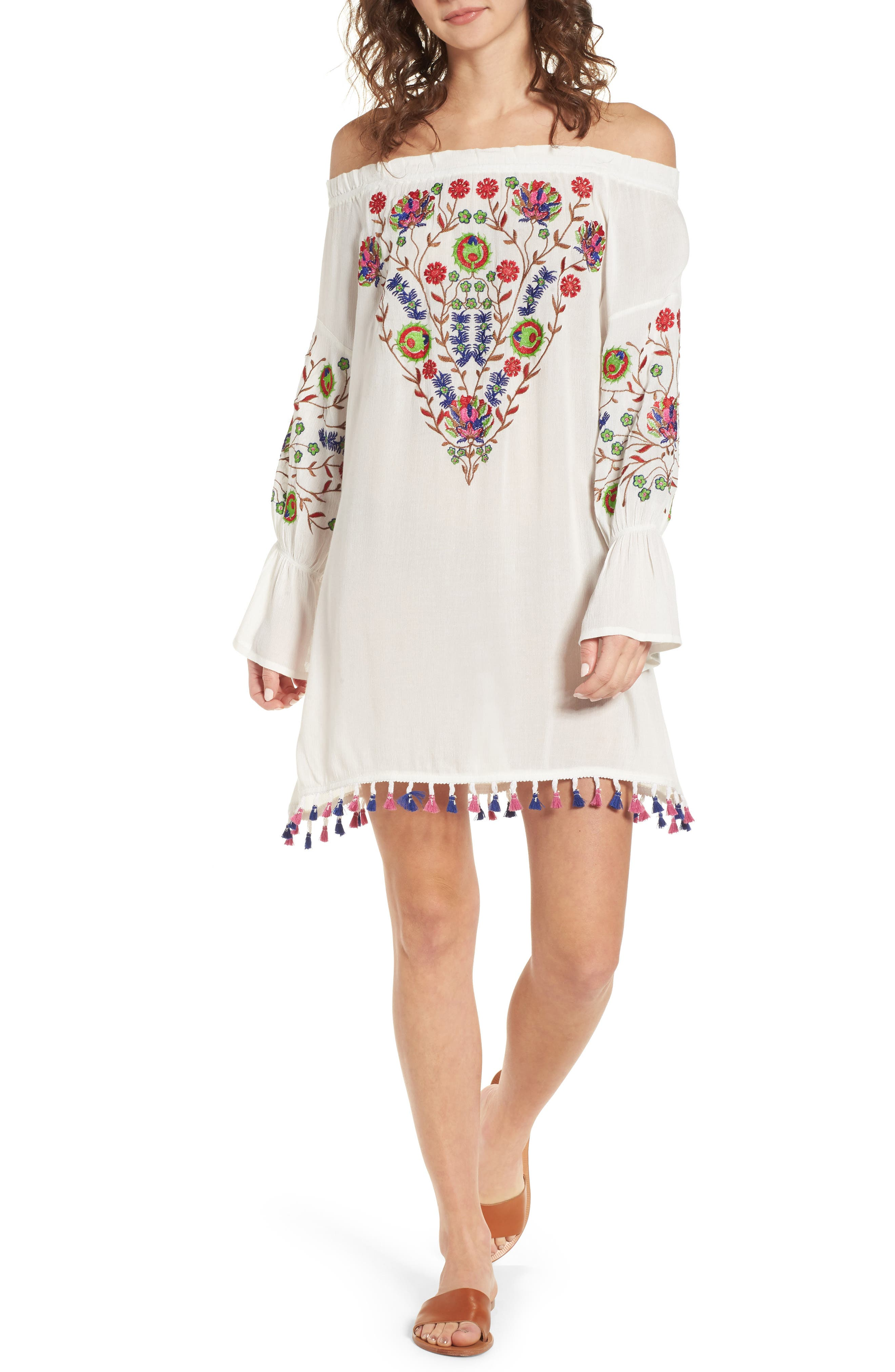 Raga Wildflower Embroidered Off the Shoulder Dress