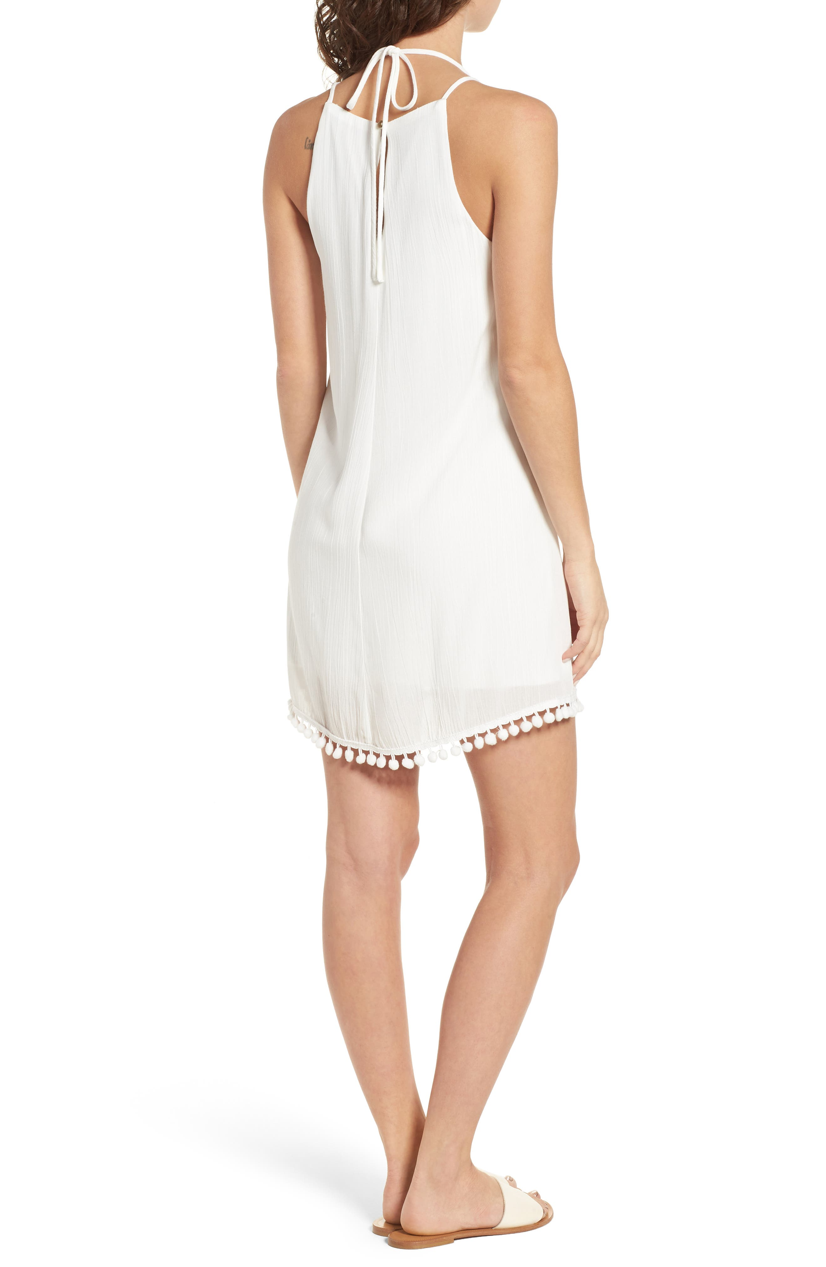 Embroidered Swing Dress,                             Alternate thumbnail 2, color,                             Milky White