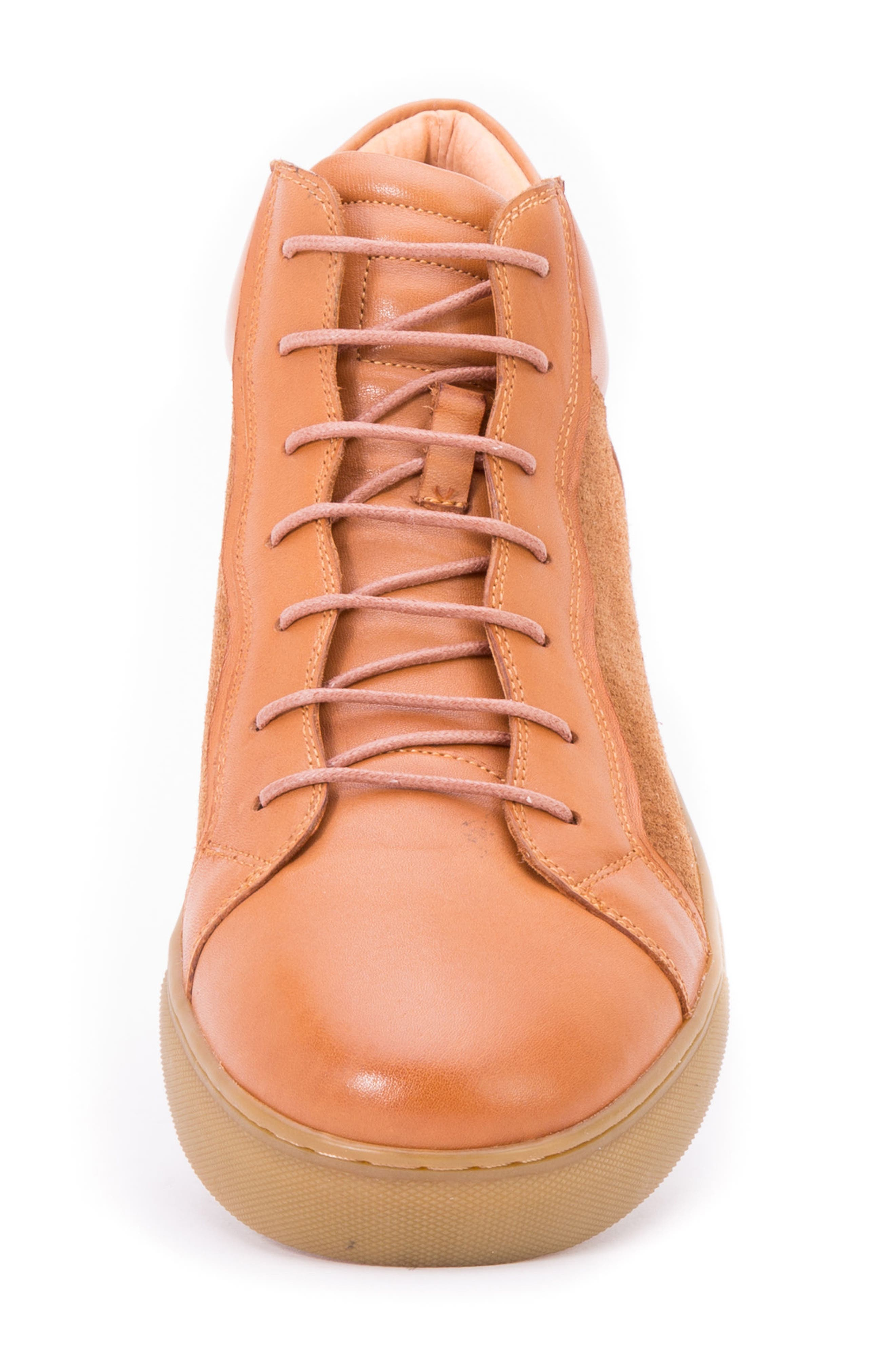 Twist Perforated High Top Sneaker,                             Alternate thumbnail 3, color,                             Cognac Leather/ Suede