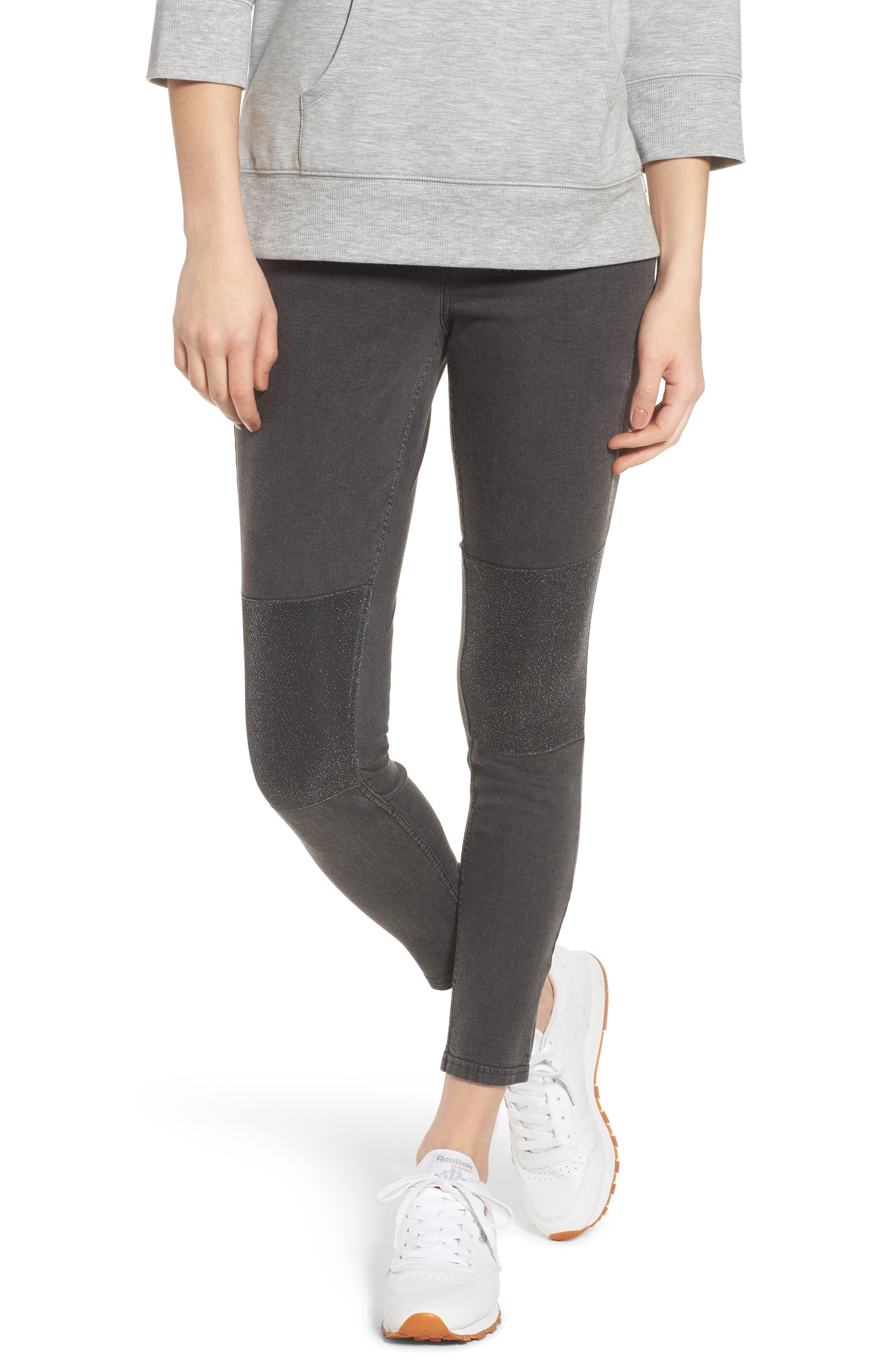 Metallic Knee Patch Denim Skimmer Leggings,                             Main thumbnail 1, color,                             Graphite Wash