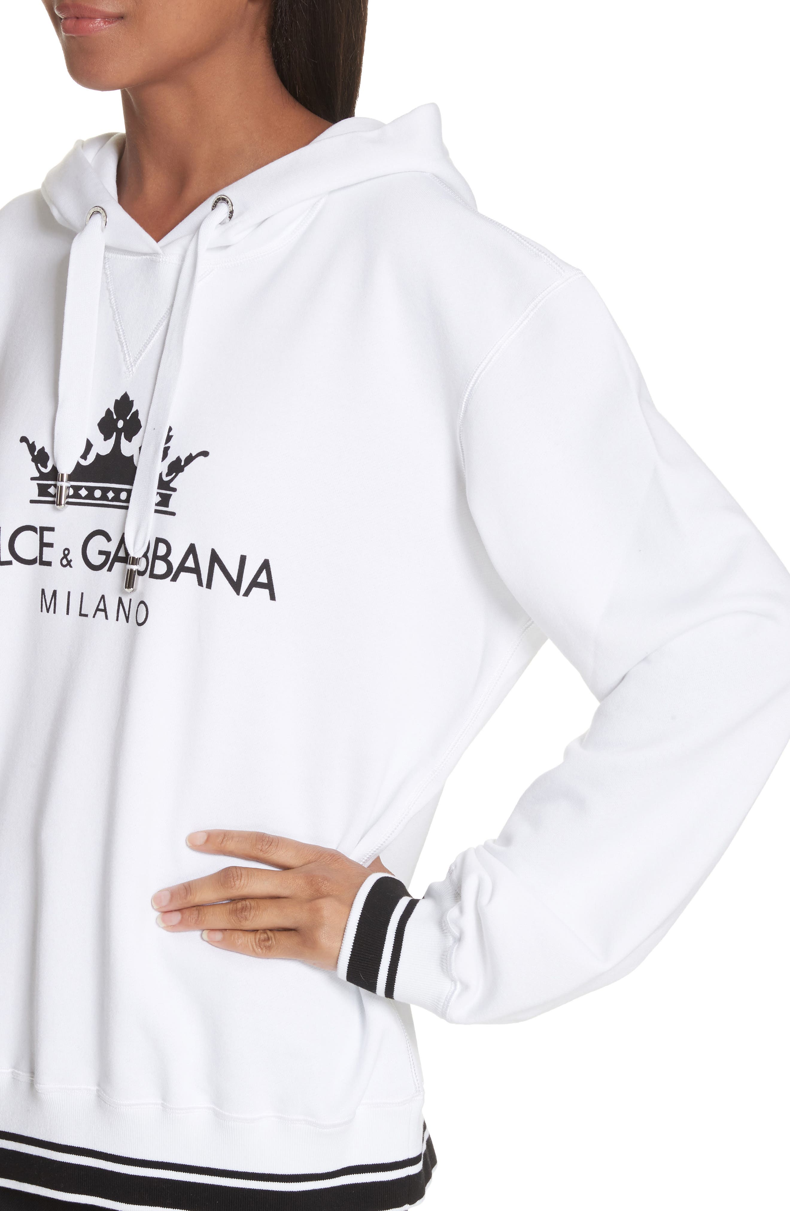 Logo Hooded Sweatshirt,                             Alternate thumbnail 4, color,                             White