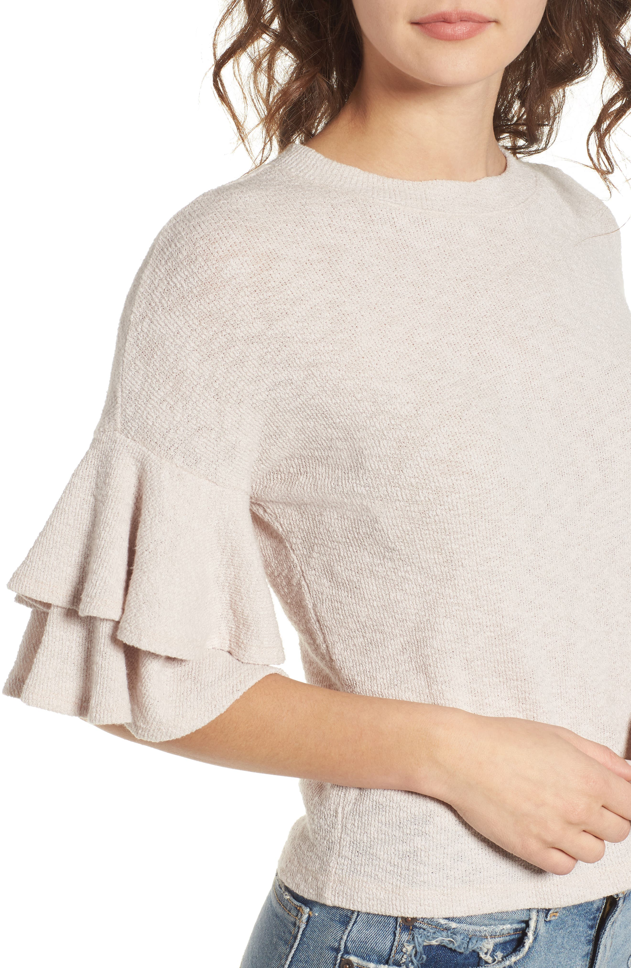 Cherry Blossom Ruffle Sleeve Top,                             Alternate thumbnail 5, color,                             Pale Pink