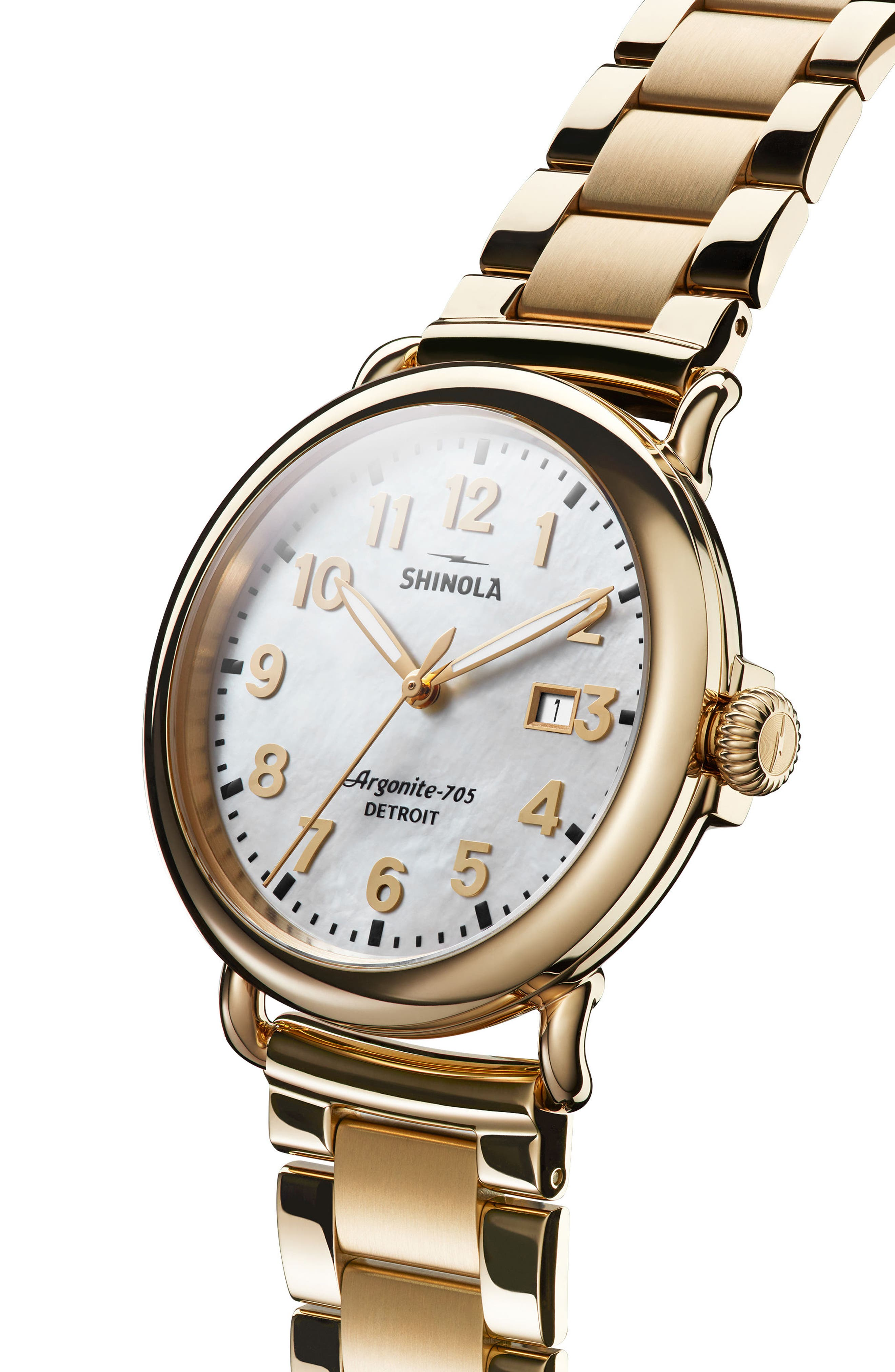 The Runwell Bracelet Watch, 41mm,                             Alternate thumbnail 3, color,                             Gold/ Mop/ Gold