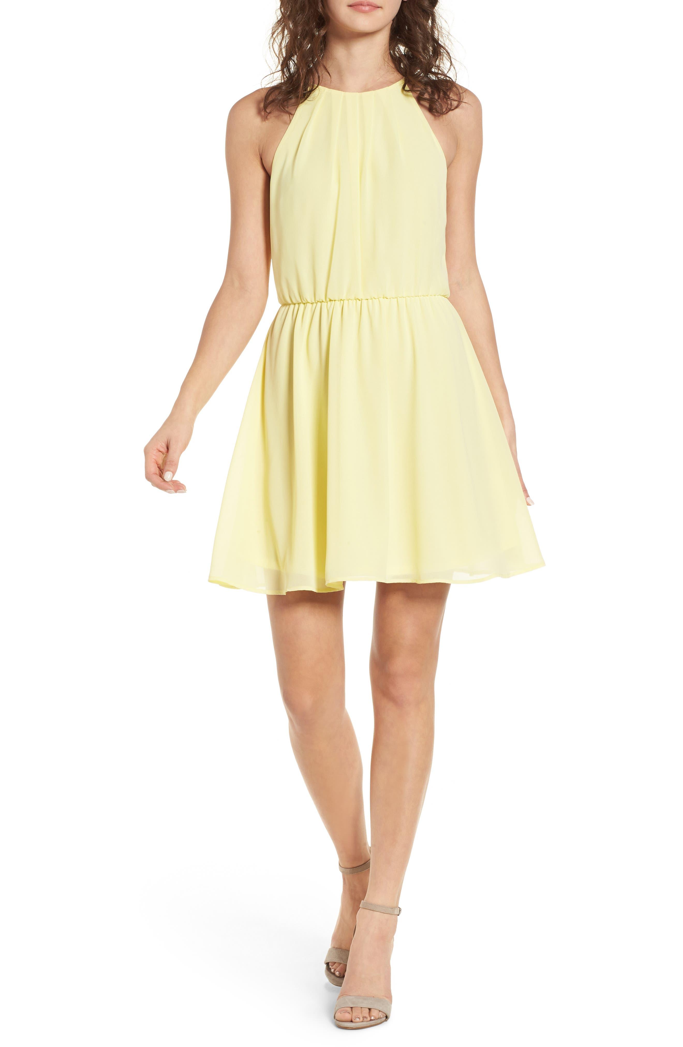 Blouson Chiffon Skater Dress,                         Main,                         color, Banana
