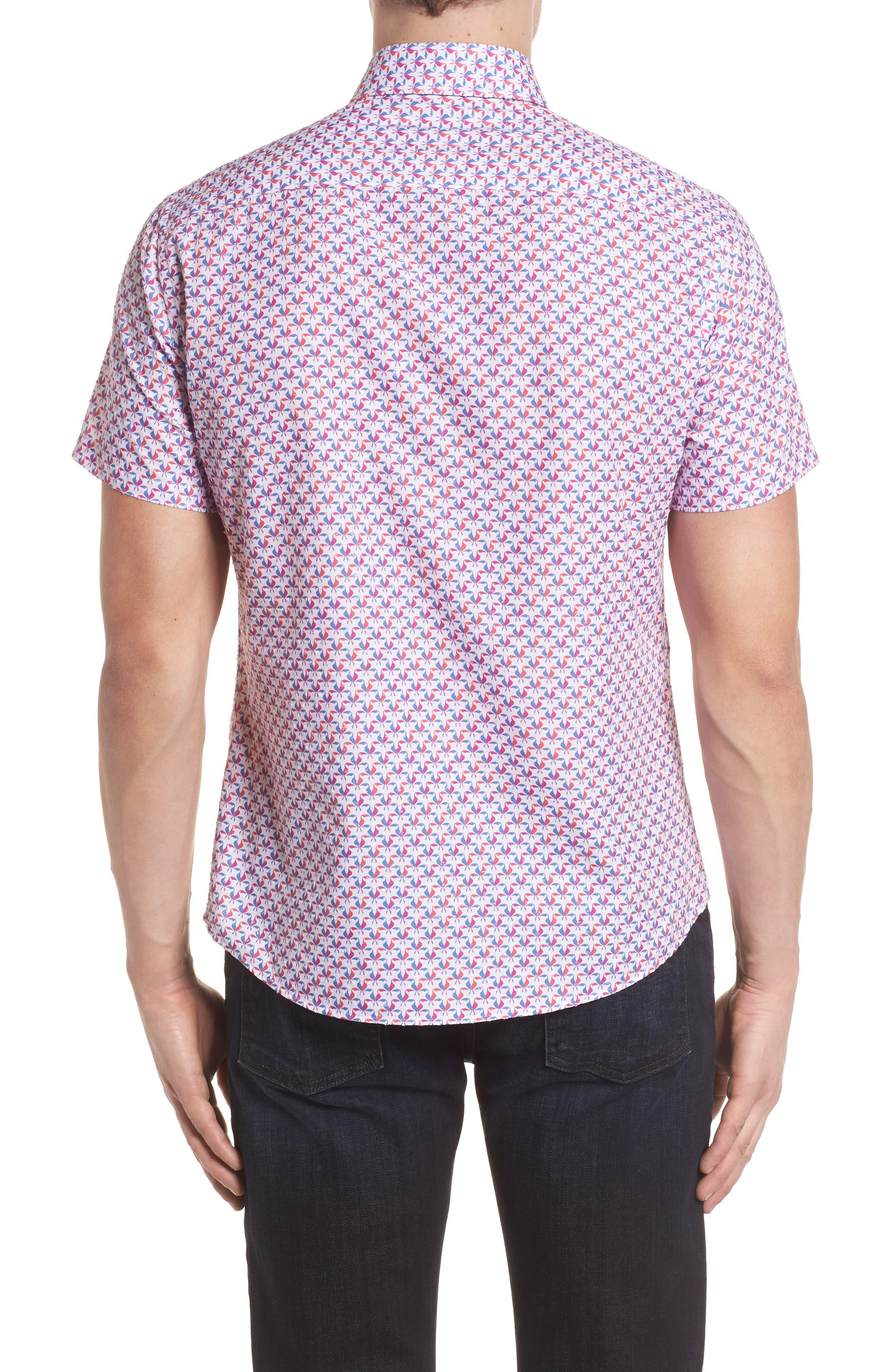 Contemporary Fit Toucan Print Sport Shirt,                             Alternate thumbnail 2, color,                             Berry