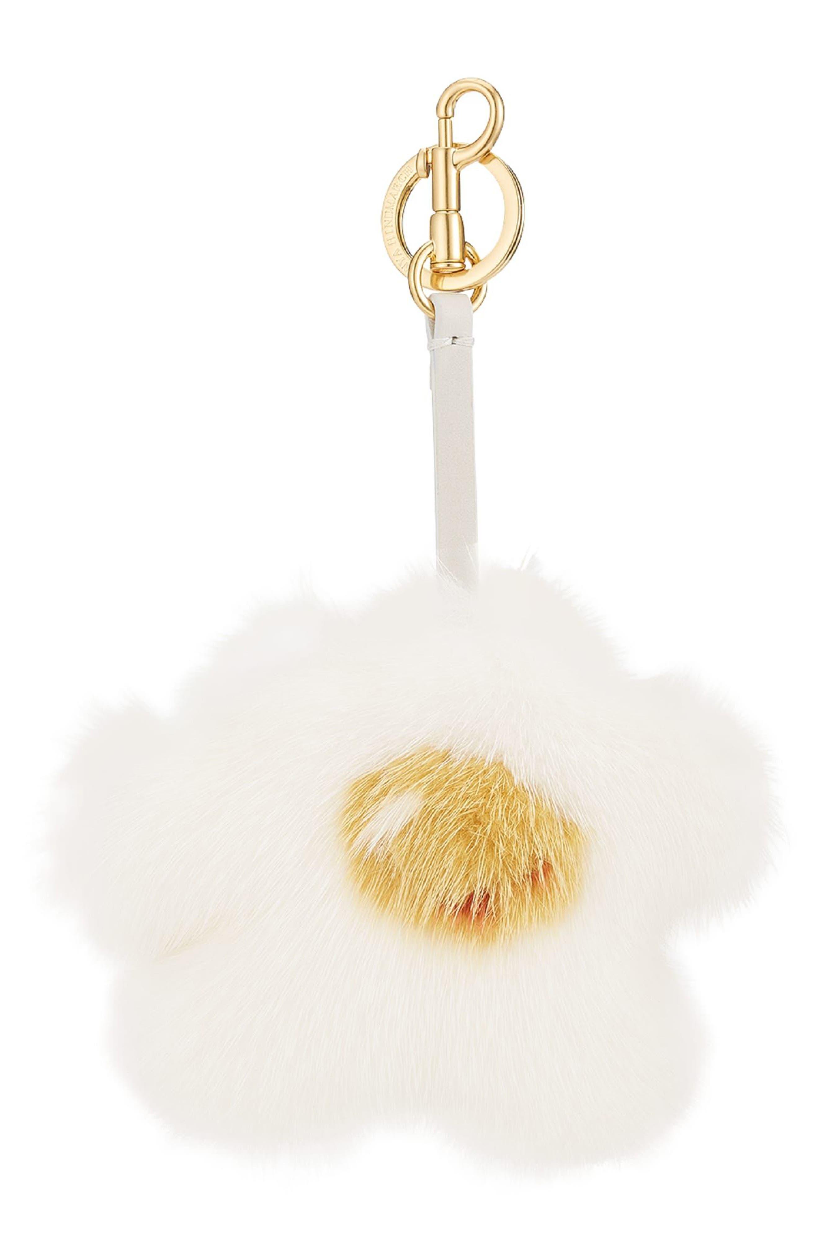 Build a Bag Genuine Mink Fur Tassel Bag Charm,                         Main,                         color, White