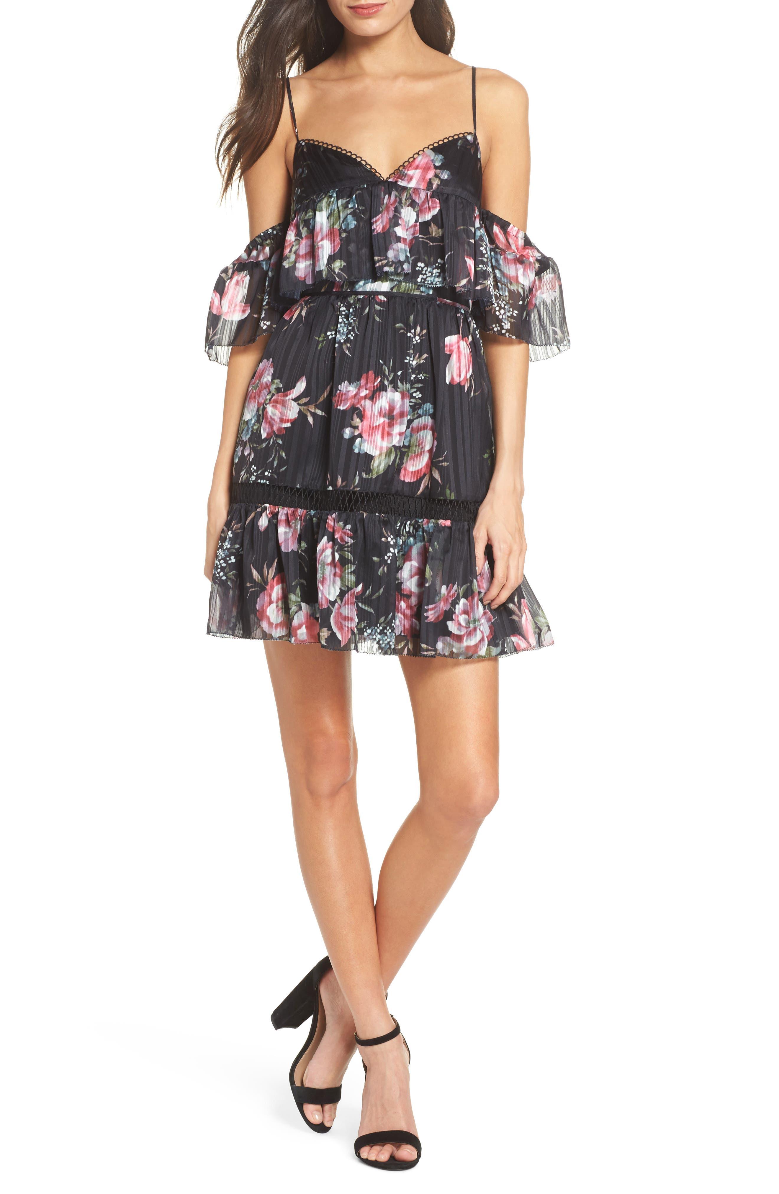 Belonging Floral Cold Shoulder Minidress,                         Main,                         color, Dark Floral Print