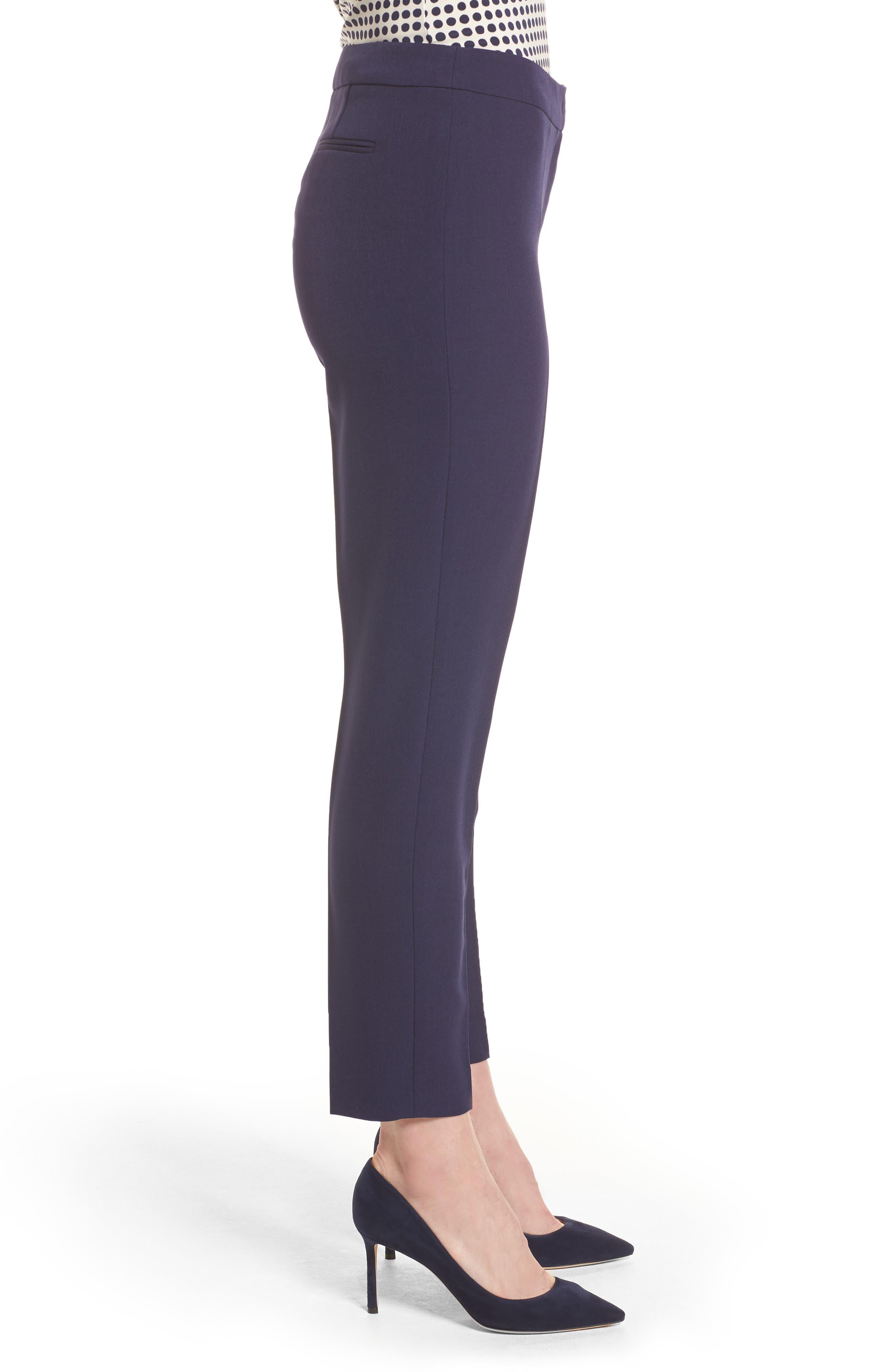 Crepe Slim Pants,                             Alternate thumbnail 3, color,                             Breton Blue