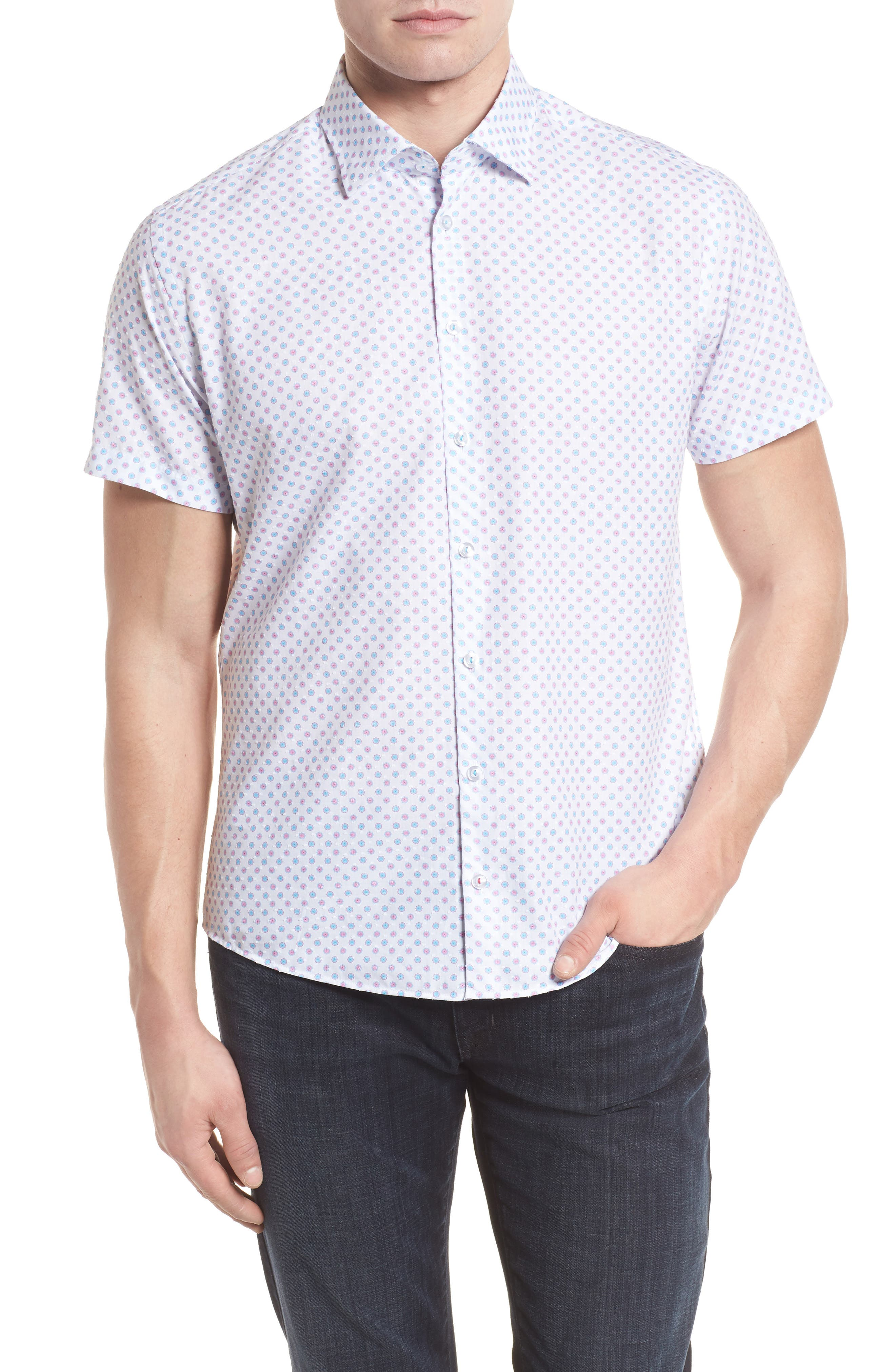 Contemporary Fit Umbrella Print Sport Shirt,                             Main thumbnail 1, color,                             White