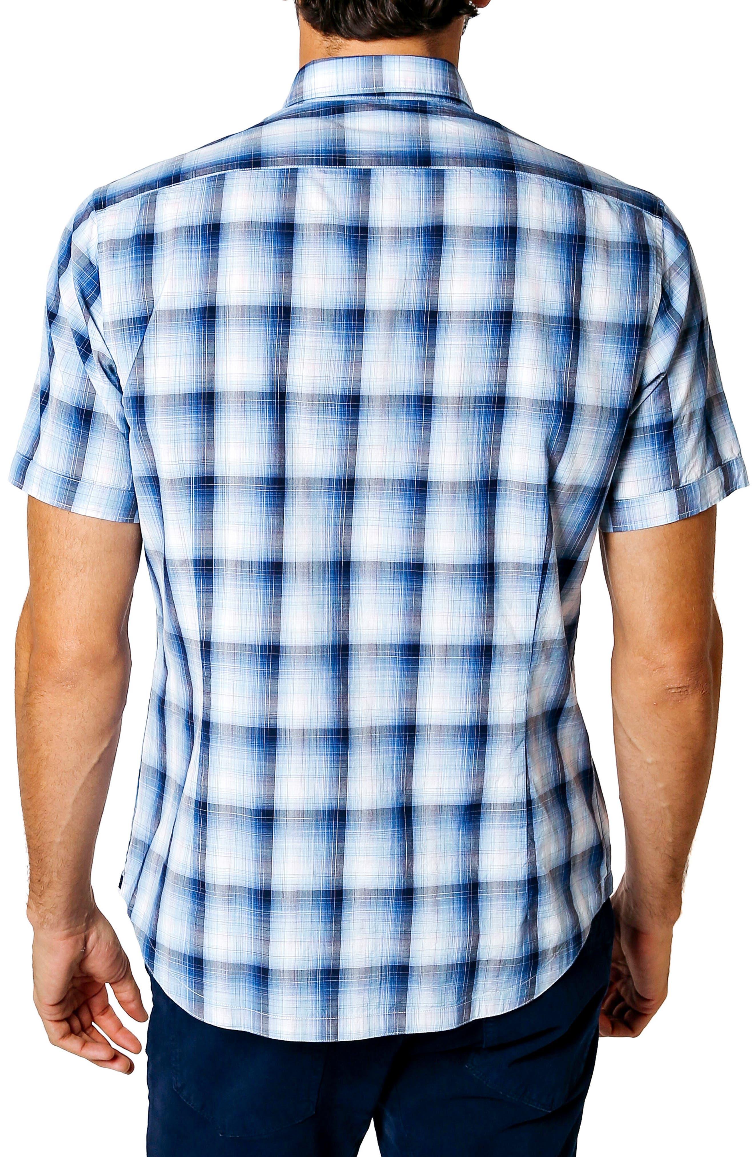 Dark Desert Trim Fit Plaid Sport Shirt,                             Alternate thumbnail 2, color,                             Indigo