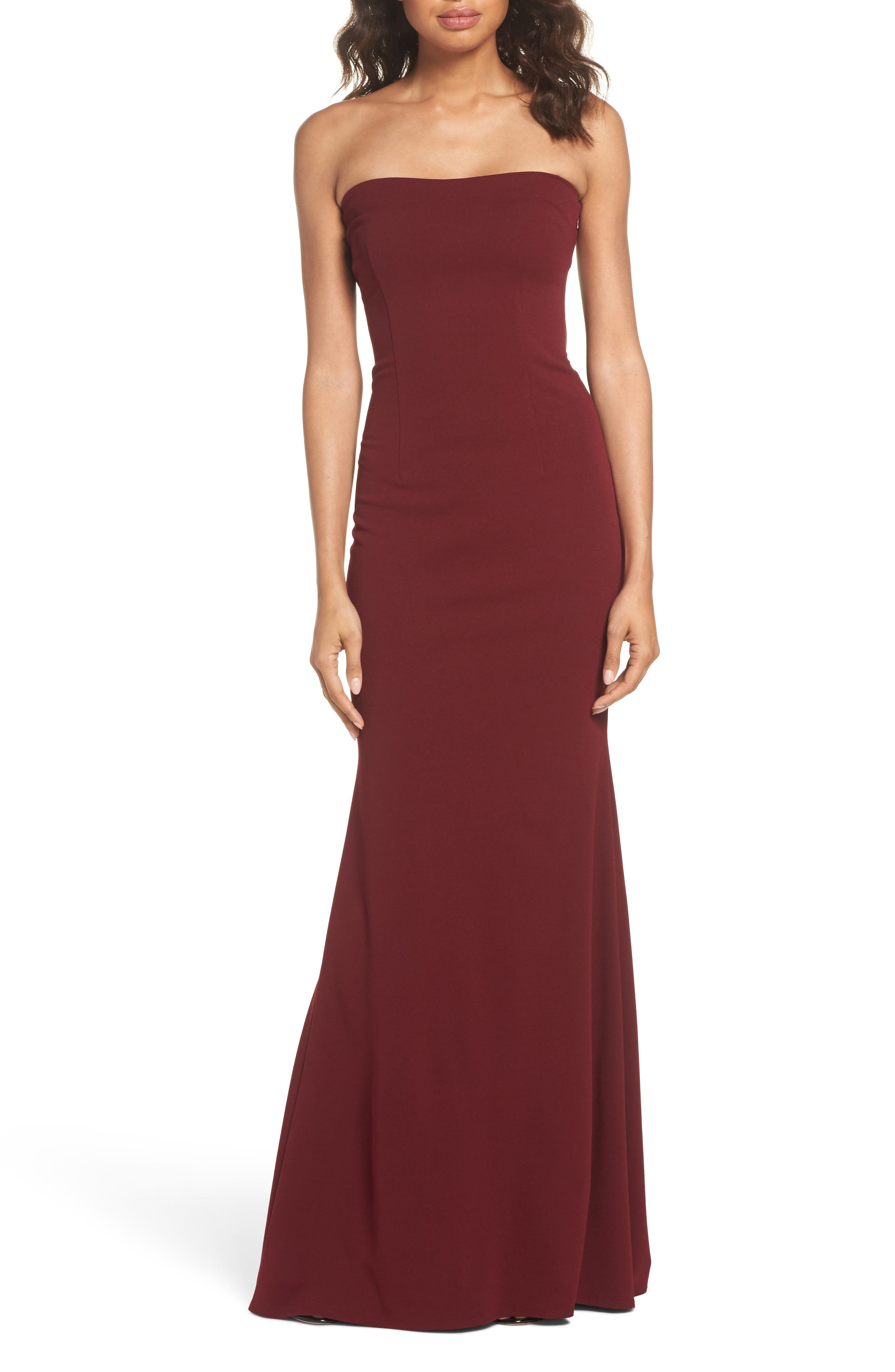 Katie May Strapless Cutout Back Gown
