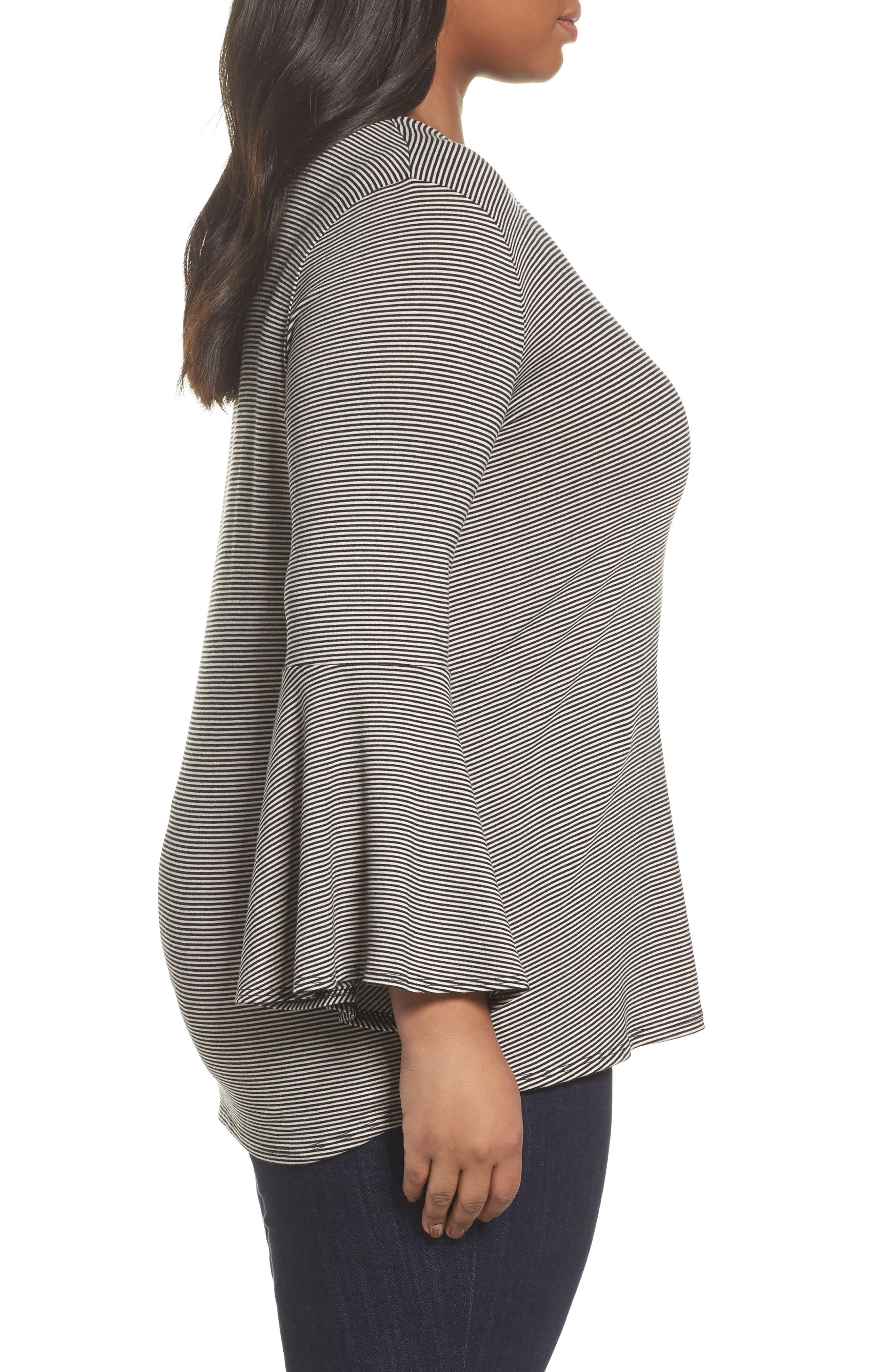 Bell Sleeve Top,                             Alternate thumbnail 3, color,                             Charcoal Heather- Black Stripe