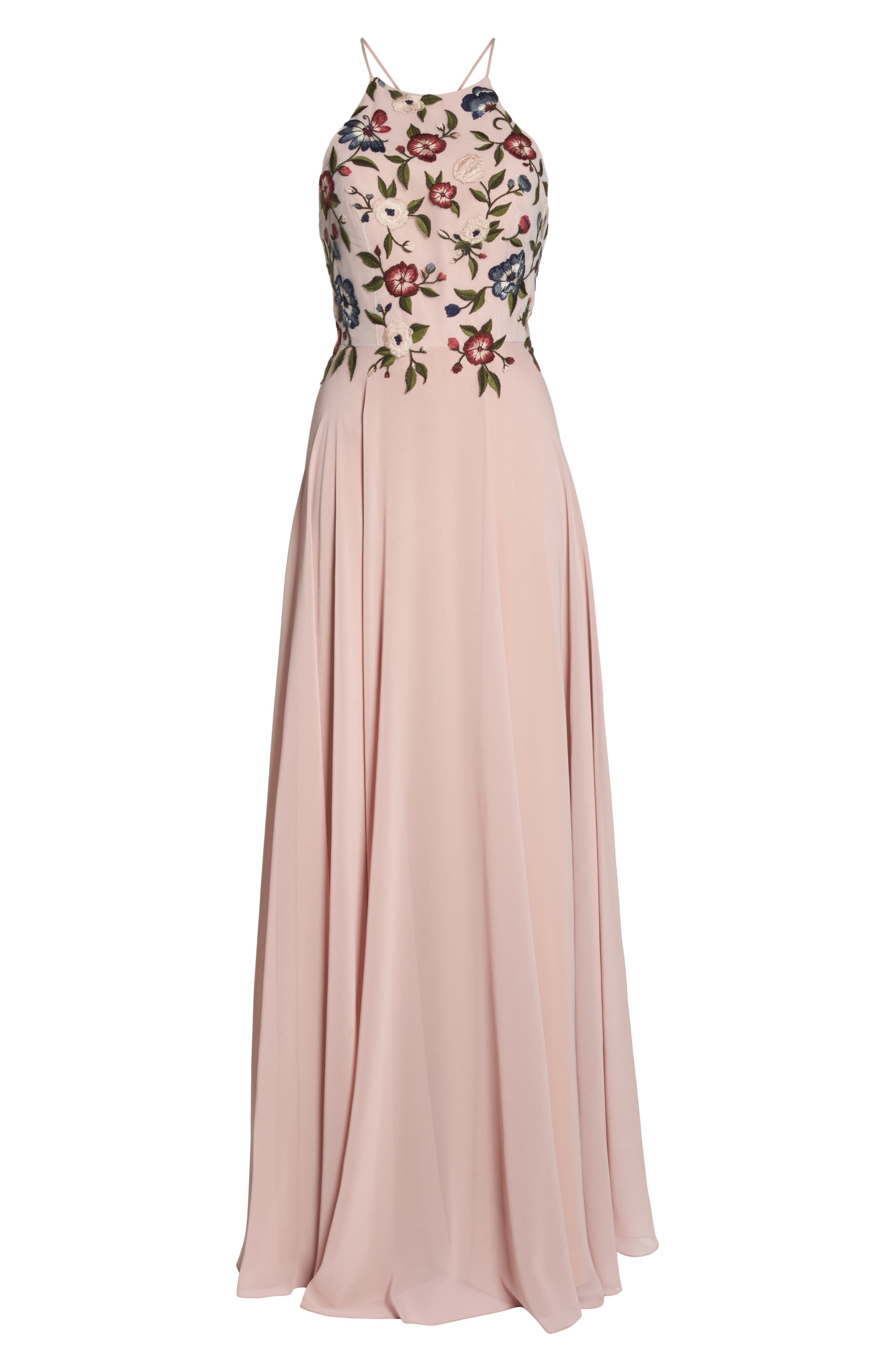 Sophie Embroidered Luxe Chiffon Gown,                             Alternate thumbnail 7, color,                             Whipped Apricot