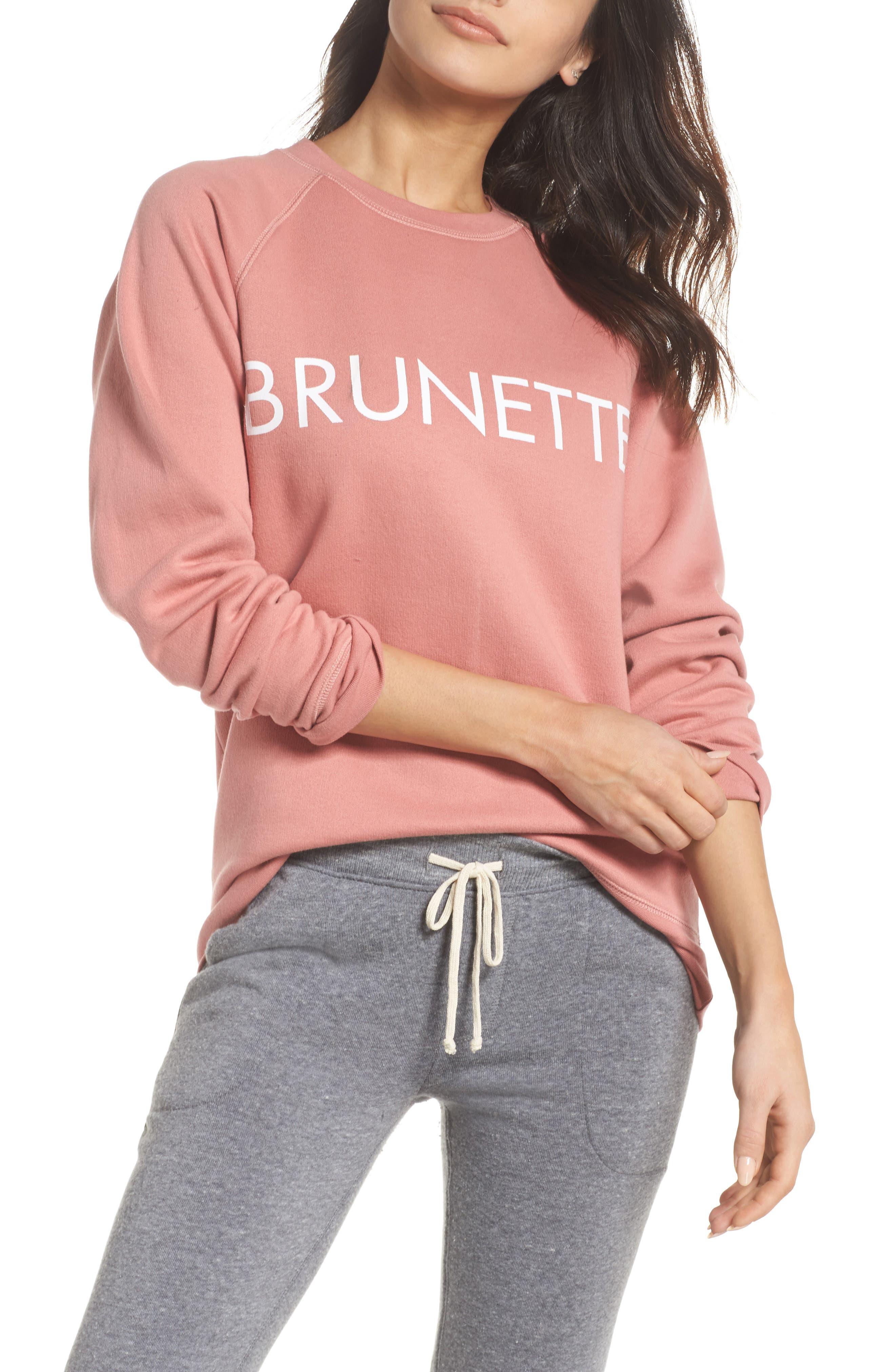 Brunette Crewneck Sweatshirt,                         Main,                         color, Dusty Rose