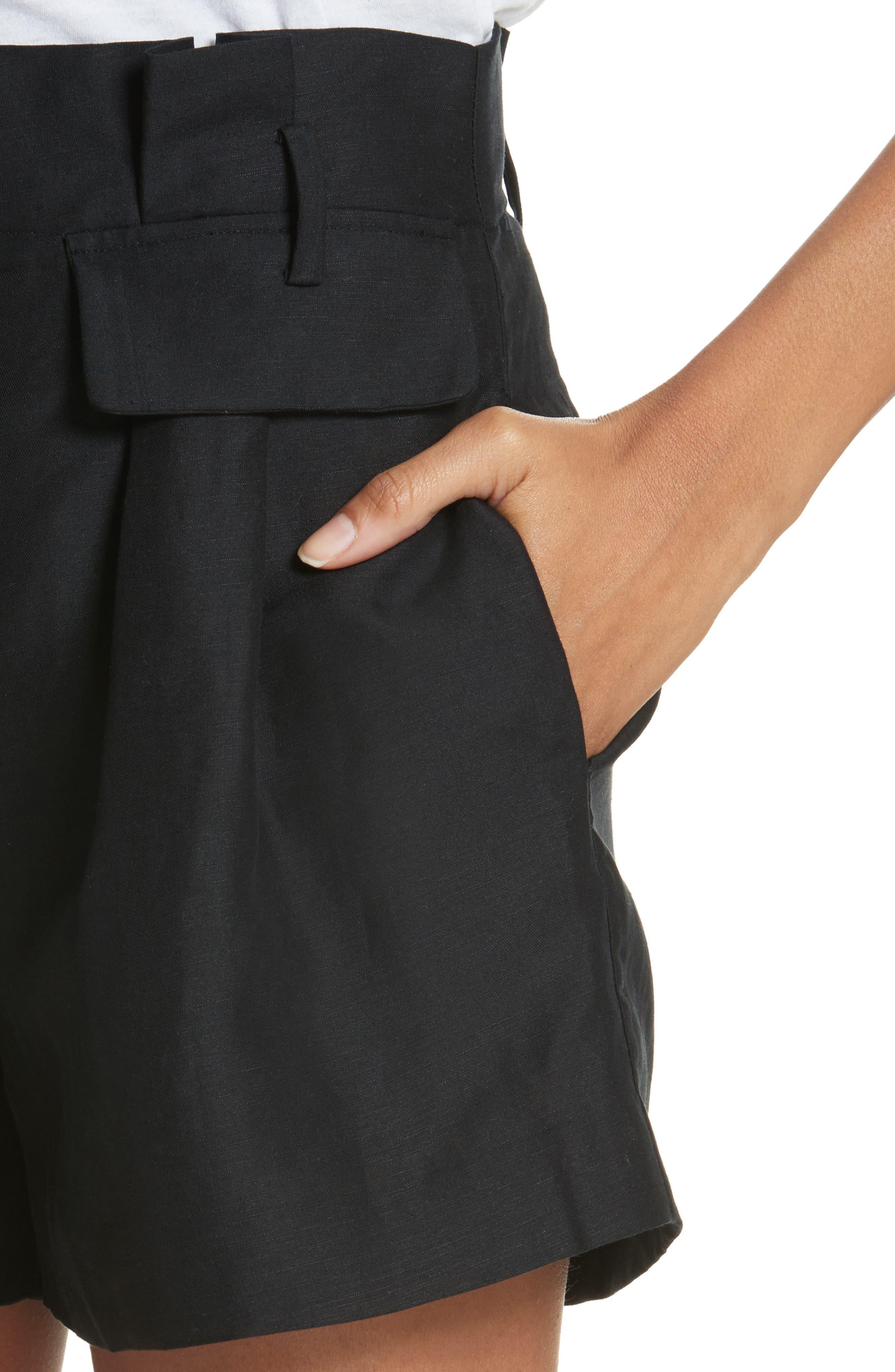 Paperbag Shorts,                             Alternate thumbnail 4, color,                             Noir
