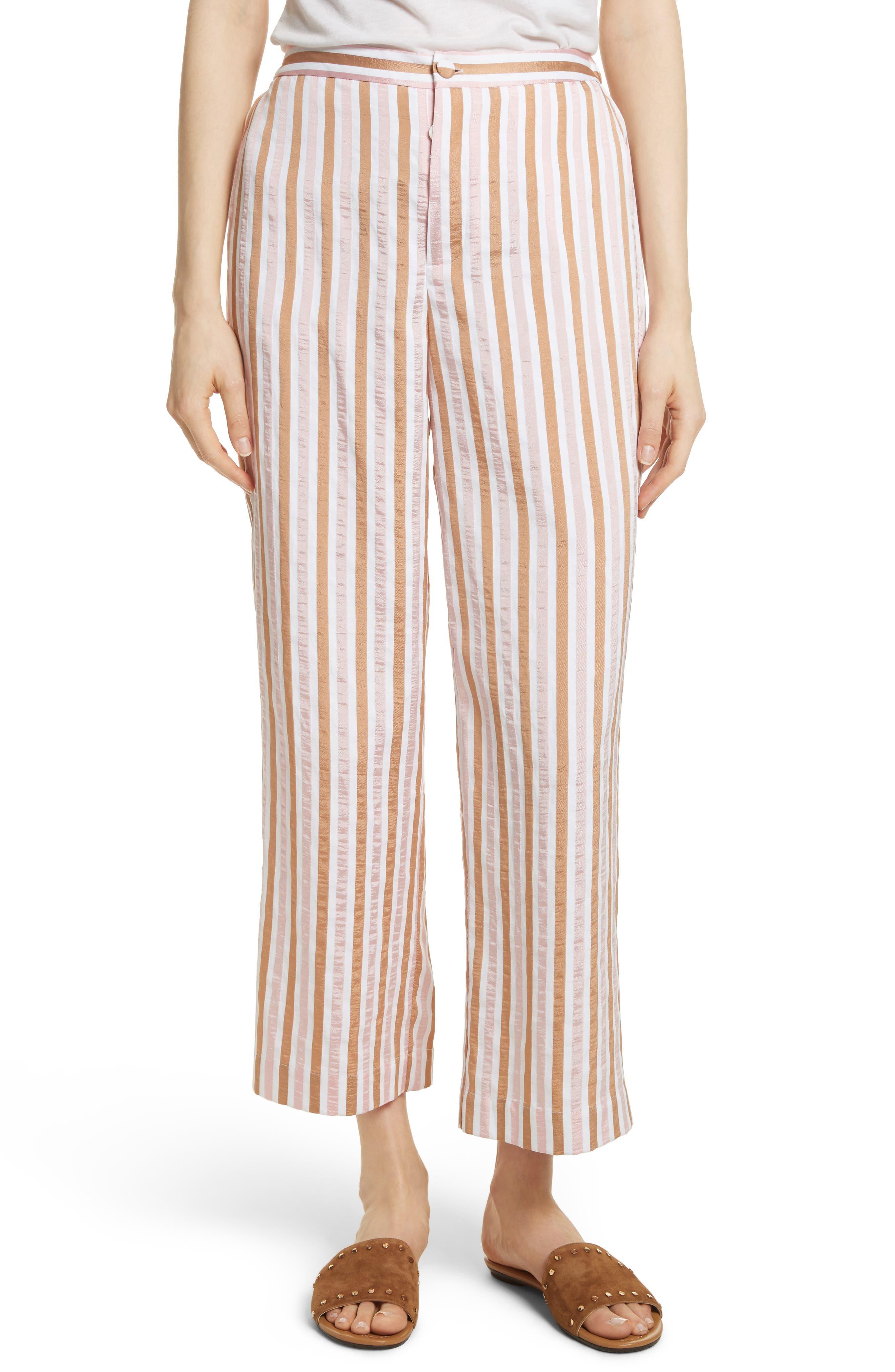Stripe Relaxed Leg Crop Pants,                         Main,                         color, Copper Multi