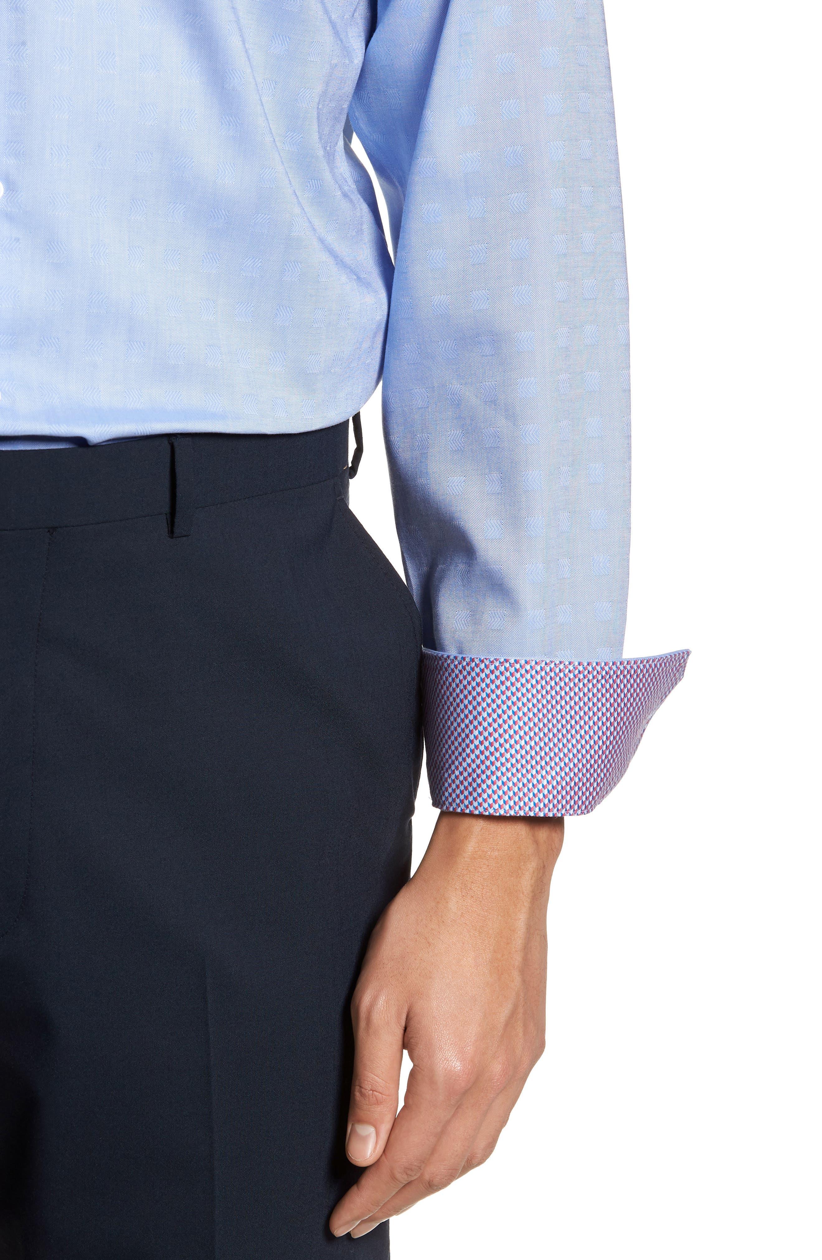 Ashur Trim Fit Solid Dress Shirt,                             Alternate thumbnail 2, color,                             Blue