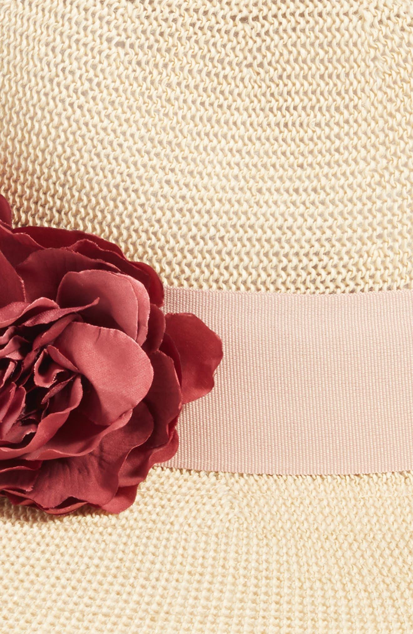 Floral Trim Straw Panama Hat,                             Alternate thumbnail 2, color,                             Natural