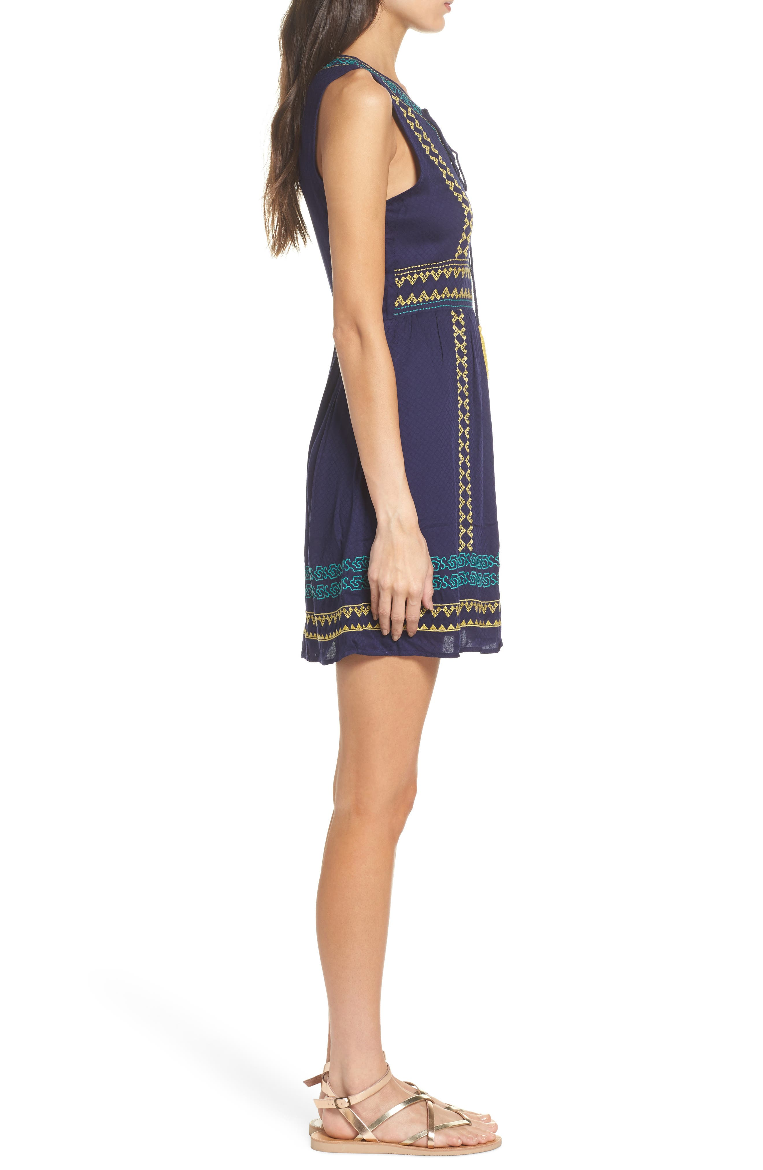 Sleeveless Embroidered A-Line Dress,                             Alternate thumbnail 3, color,                             Navy