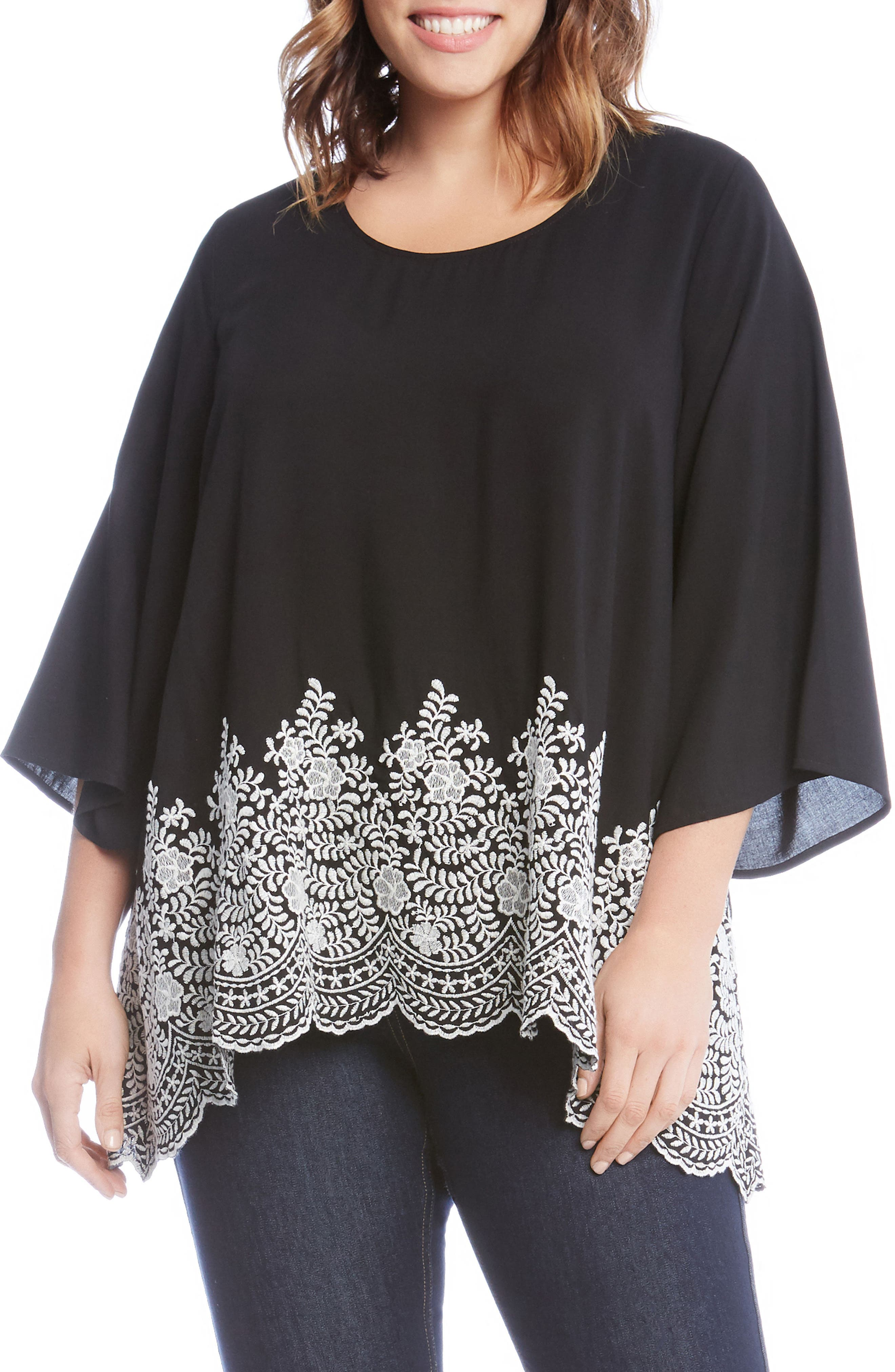 Embroidered Hem Top,                         Main,                         color, Black