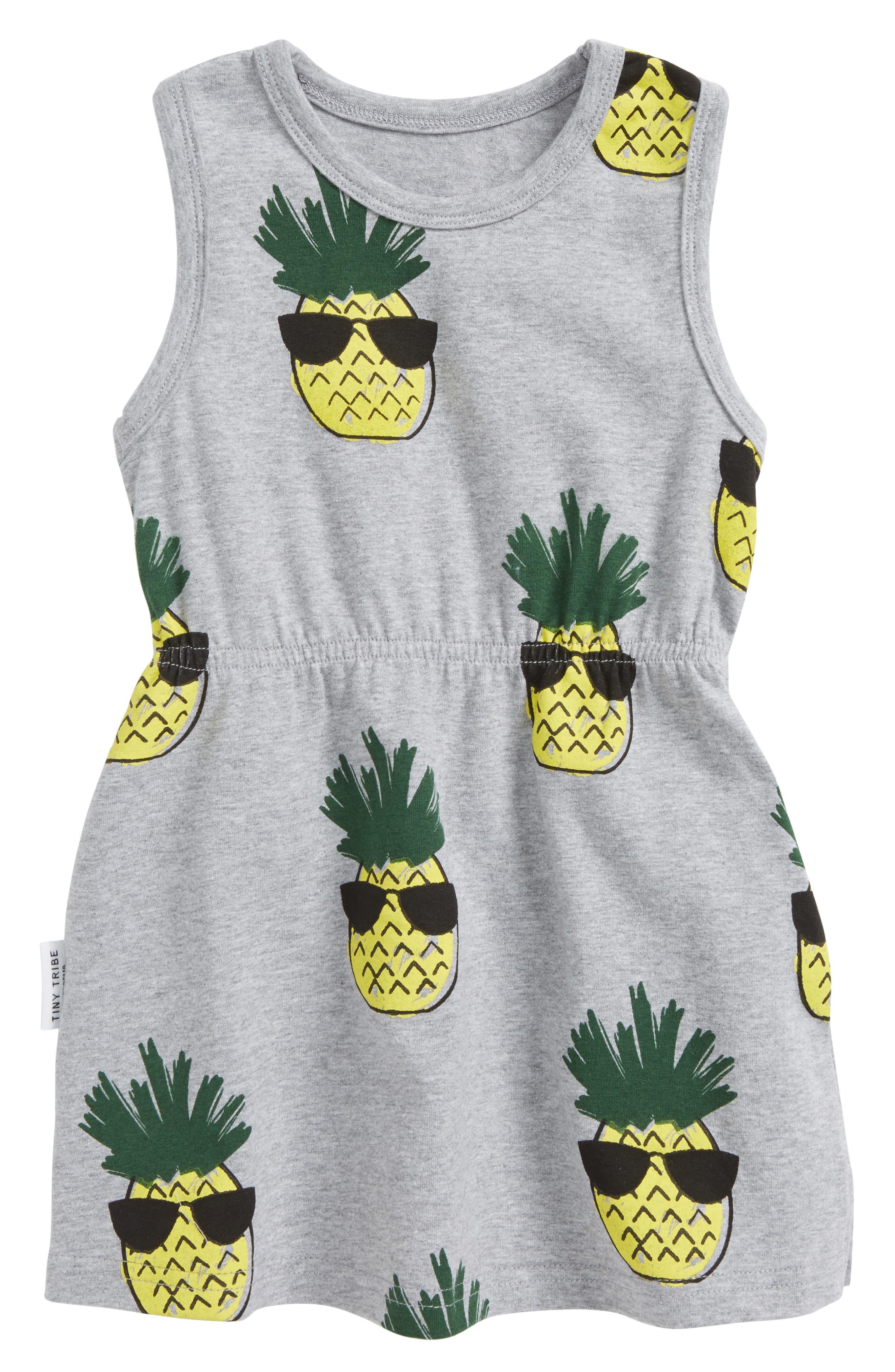 Main Image - Tiny Tribe Cool Pineapple Racerback Dress (Baby Girls)