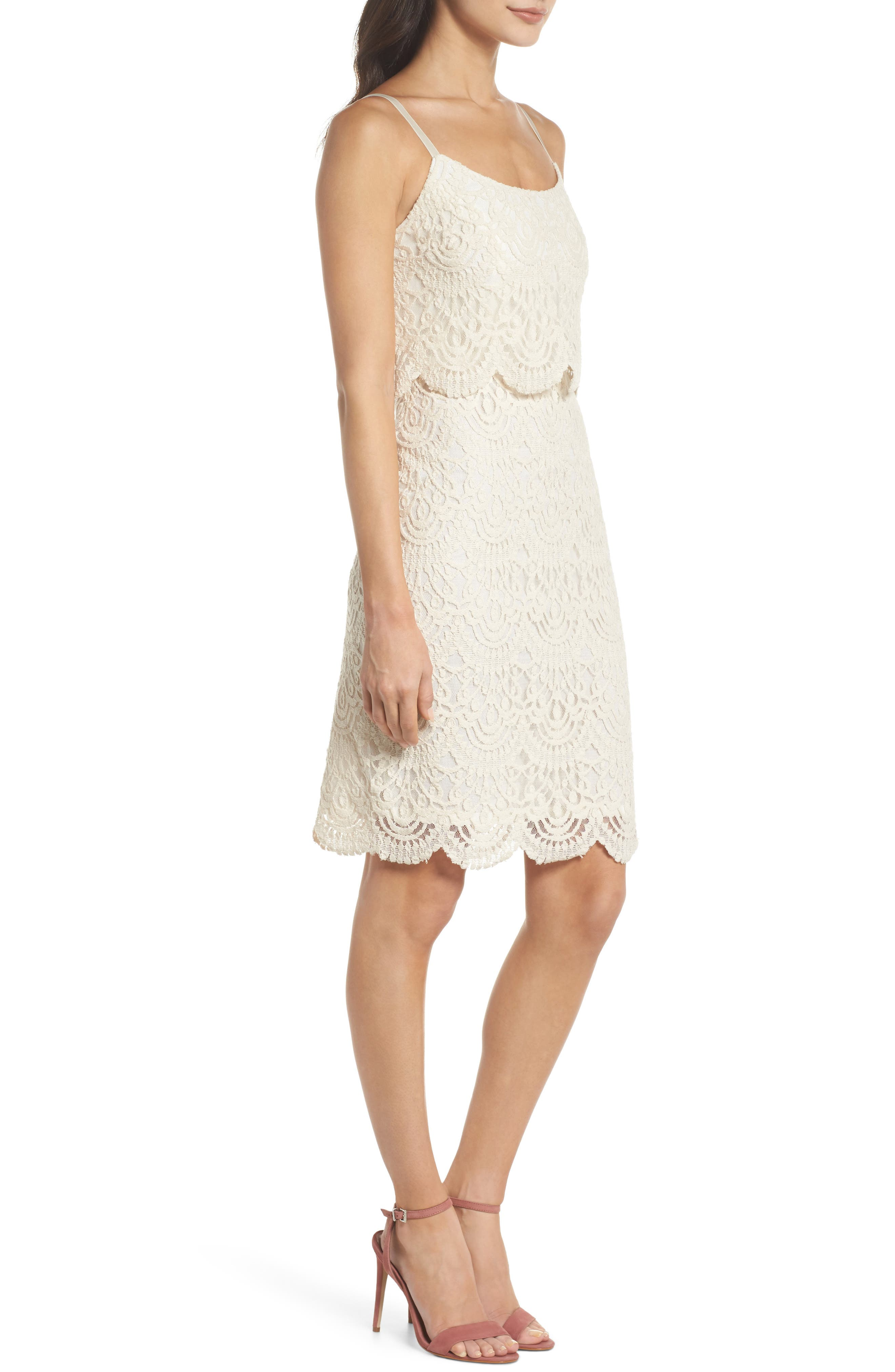 Barnsdall Afternoon Tiered Lace Dress,                             Alternate thumbnail 4, color,                             Vintage Lace