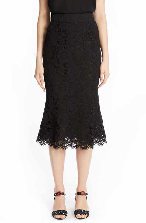 Dolce&Gabbana Fluted Hem Lace Skirt