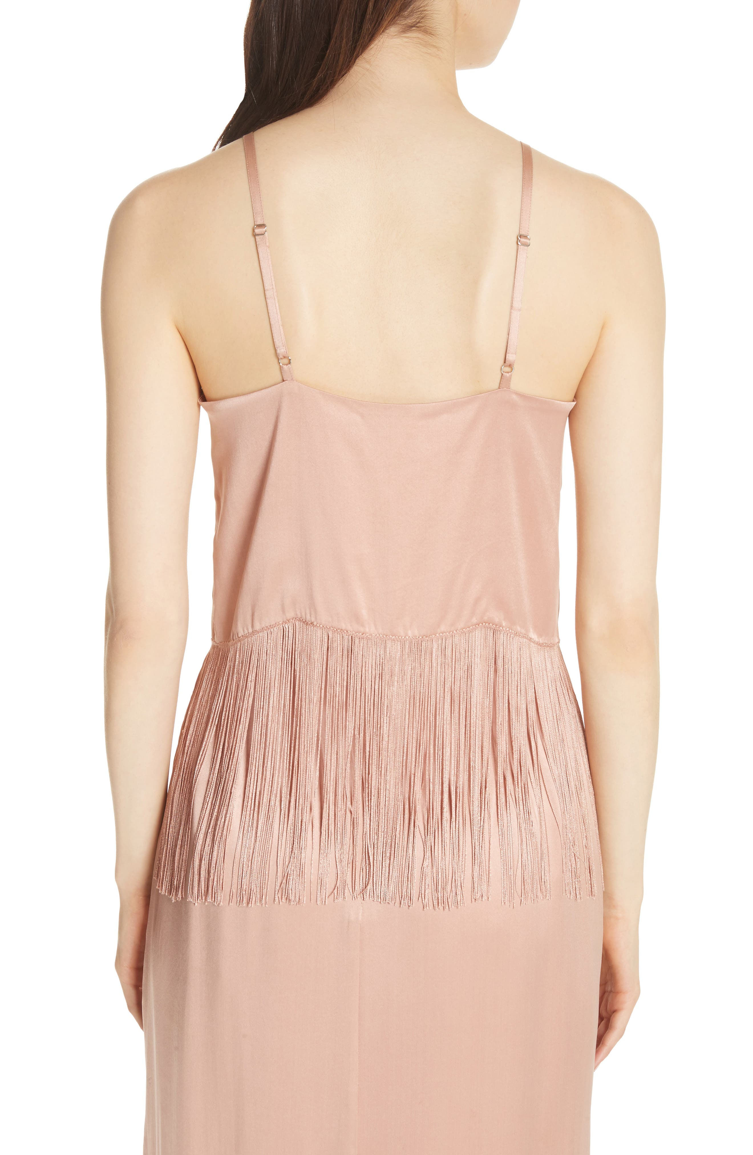 Fringe Halter Silk Tank,                             Alternate thumbnail 2, color,                             Cosmetic Pink