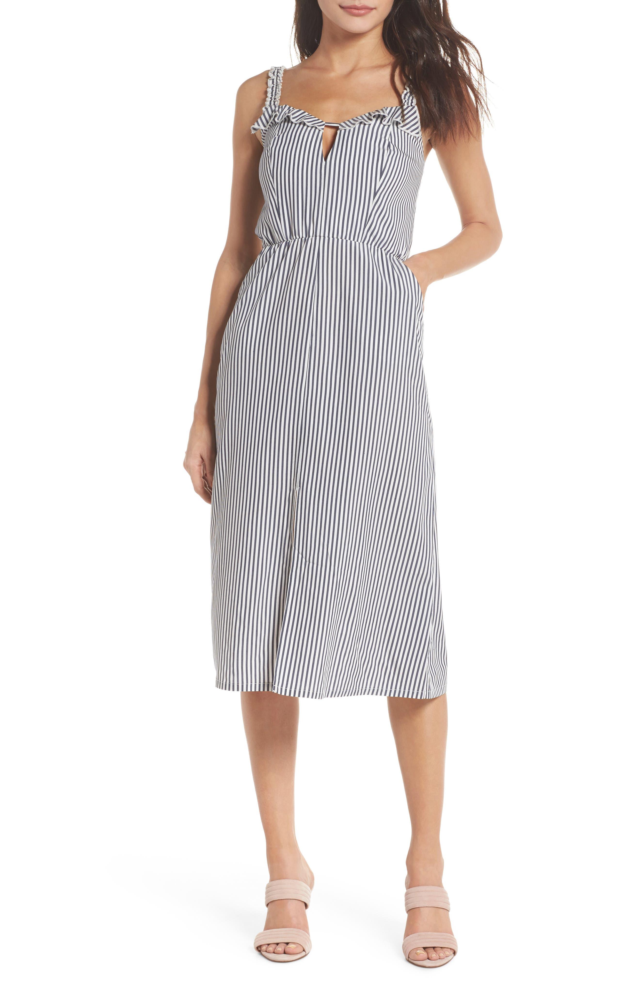 Drinks On Me Stripe Ruffle Midi Dress,                             Main thumbnail 1, color,                             Navy/ White Mini Stripe