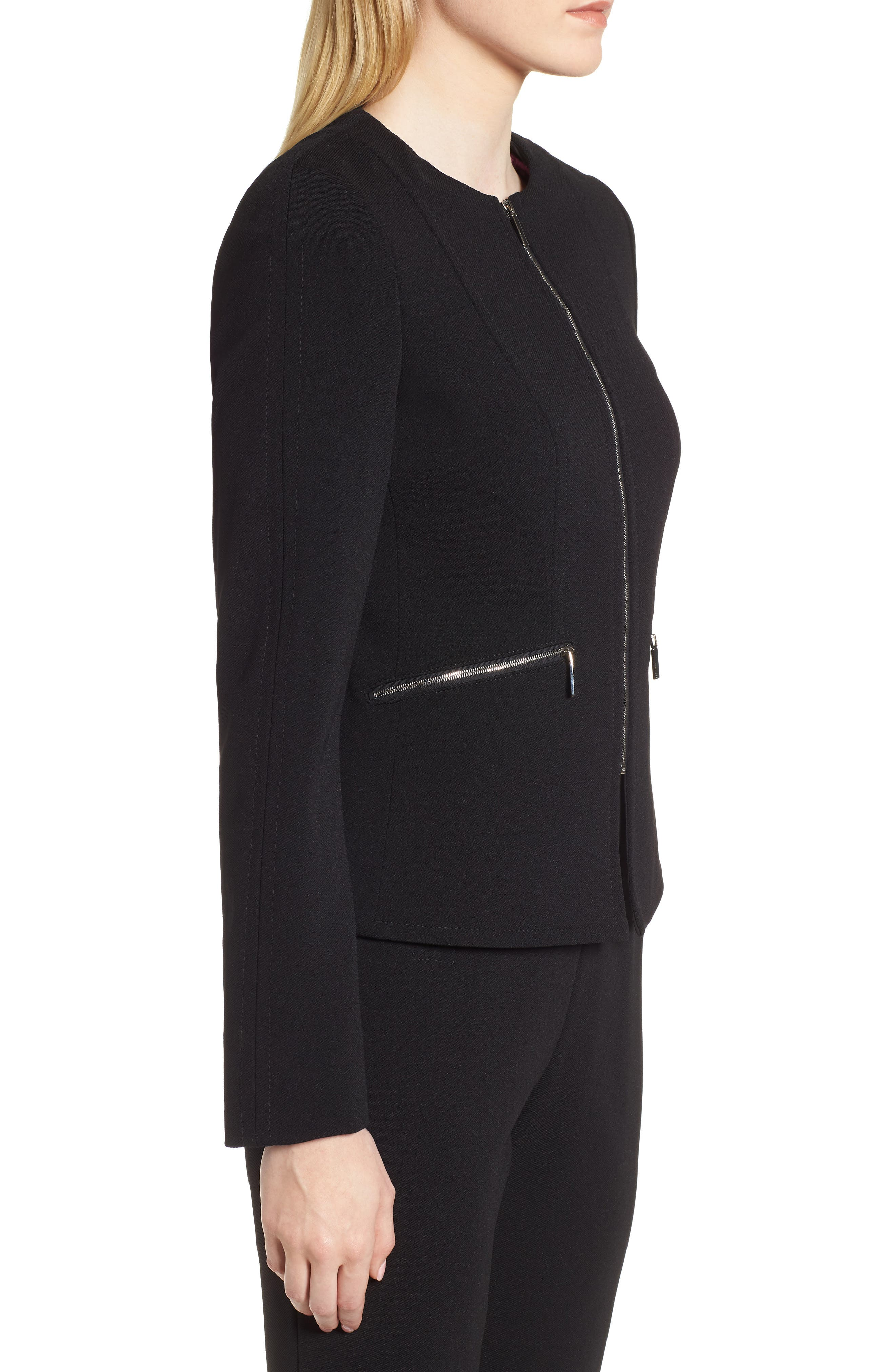 Jazulara Twill Jersey Suit Jacket,                             Alternate thumbnail 3, color,                             Black
