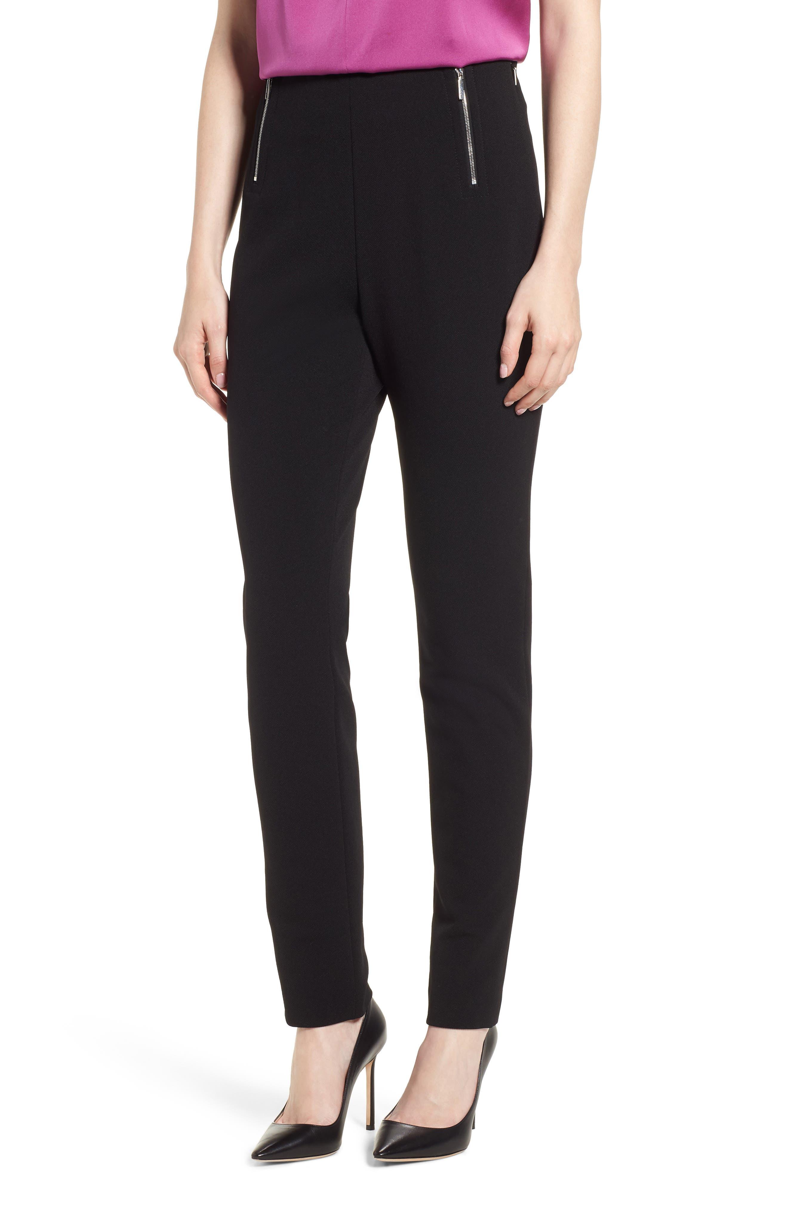 Tilezea Twill Jersey Trousers,                             Main thumbnail 1, color,                             Black