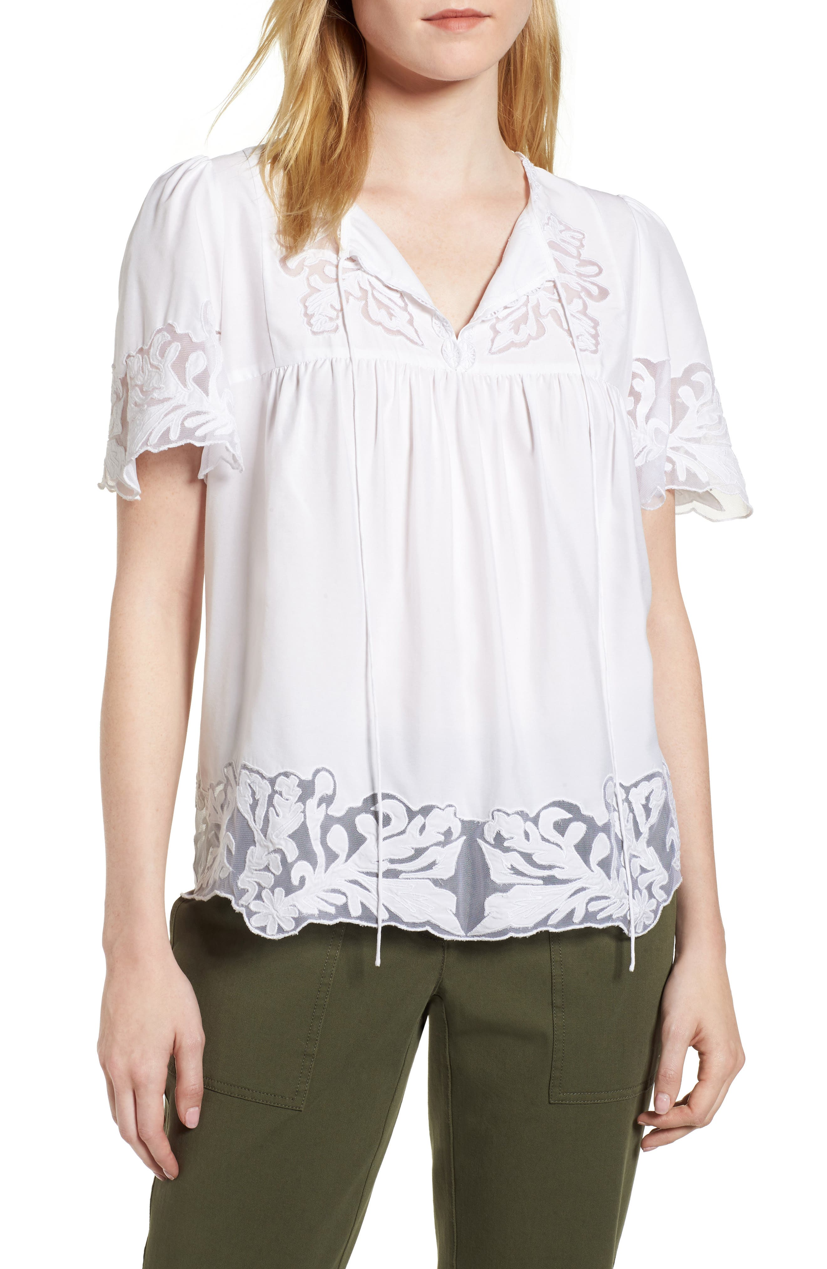 Embroidered Appliqué Top,                             Main thumbnail 1, color,                             White