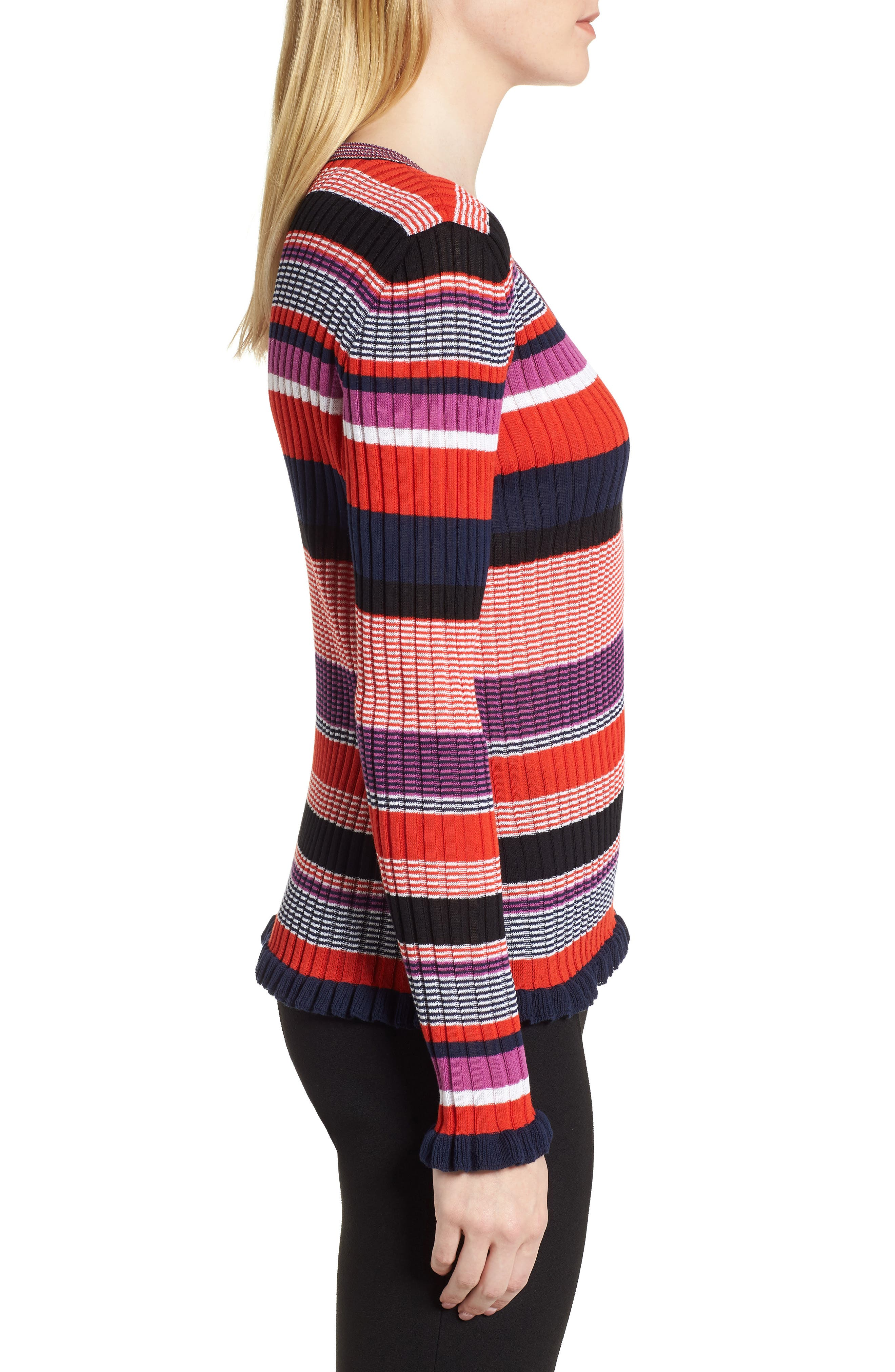 Fallegria Stripe Sweater,                             Alternate thumbnail 3, color,                             Black Fantasy
