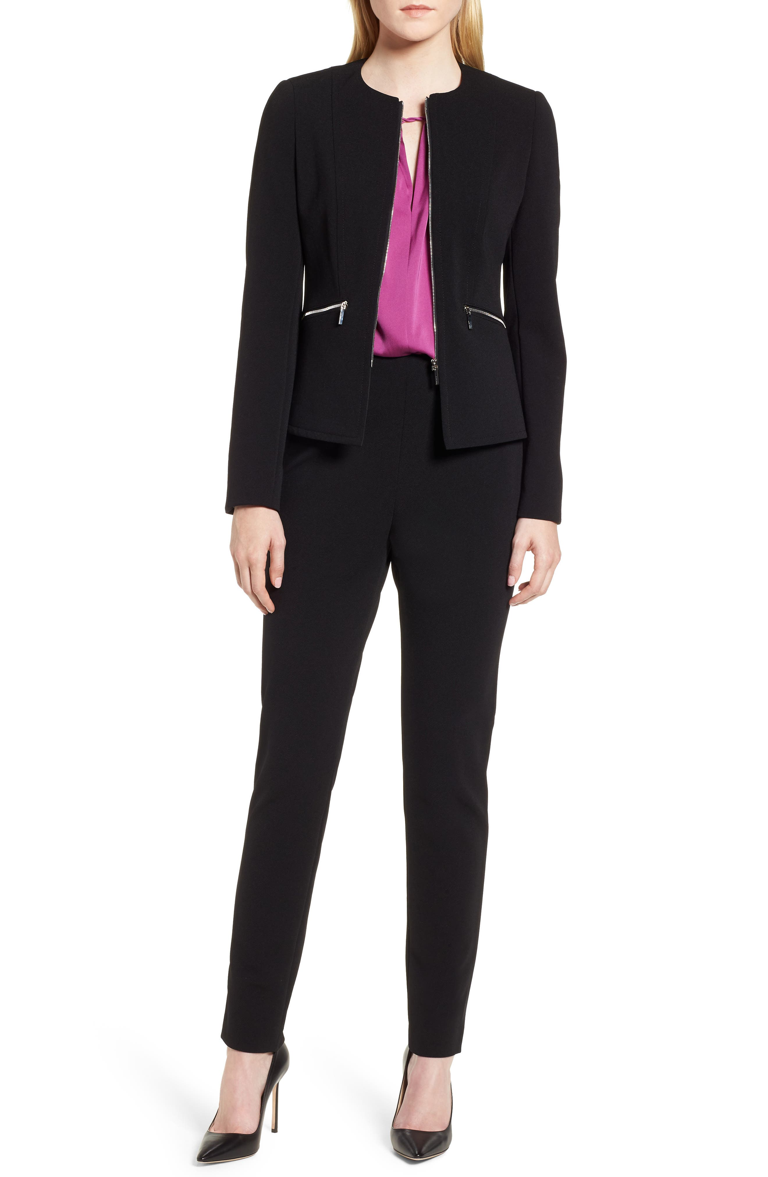 Jazulara Twill Jersey Suit Jacket,                             Alternate thumbnail 7, color,                             Black