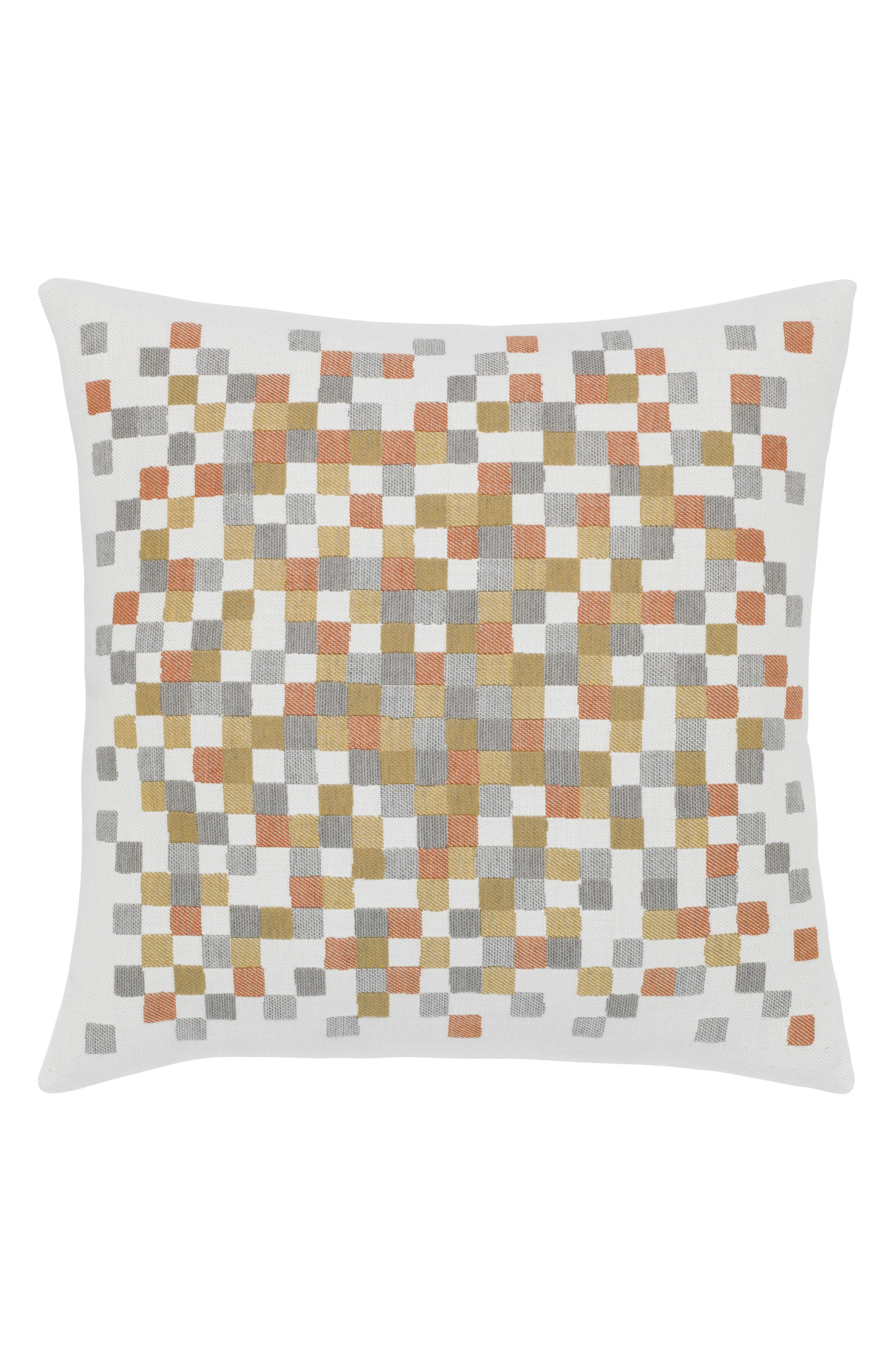 Metallic Check Indoor/Outdoor Accent Pillow,                         Main,                         color, Gold/ Grey