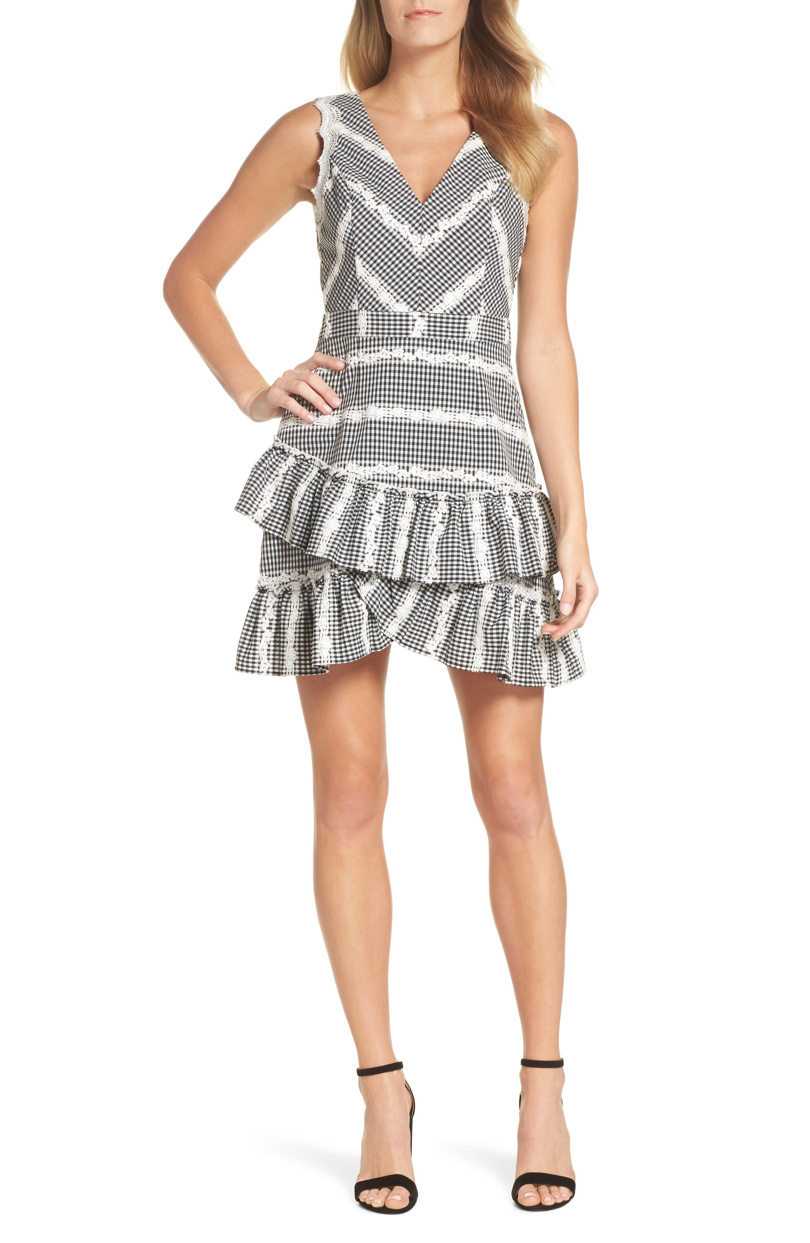 Belle Ruffle Gingham Dress,                         Main,                         color, Black/ White
