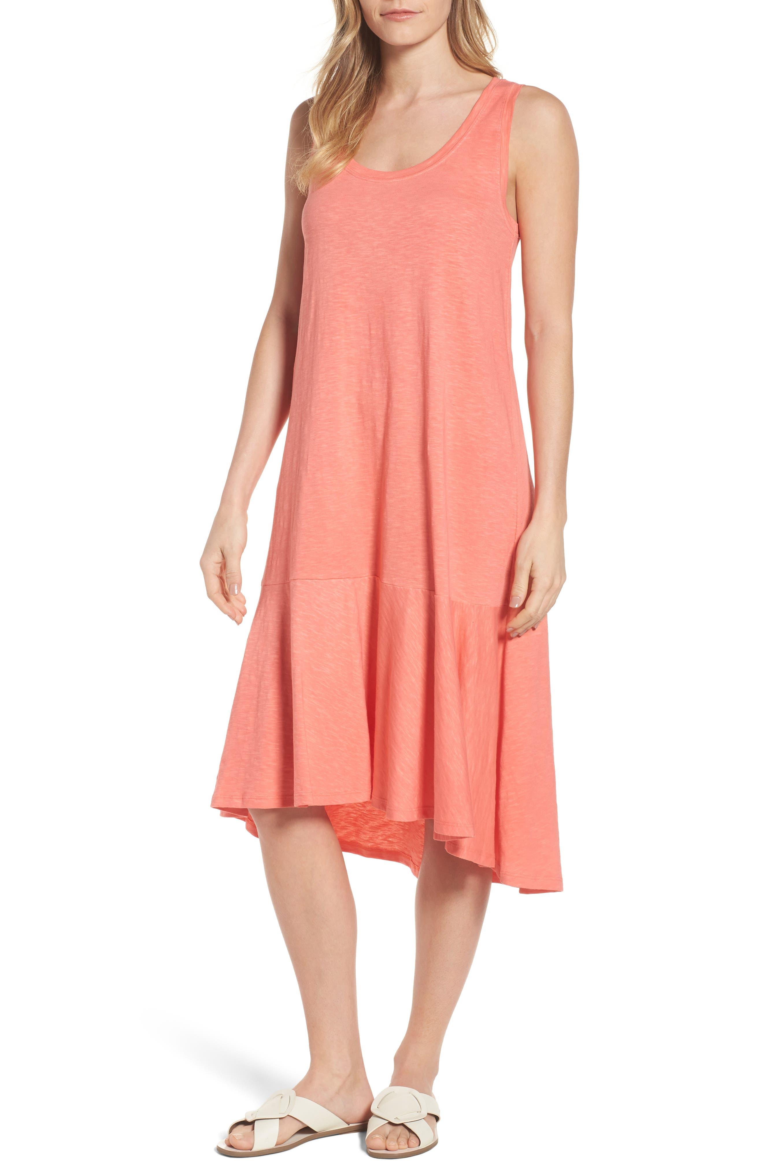 Drop Waist Jersey Dress,                         Main,                         color, Coral Rose