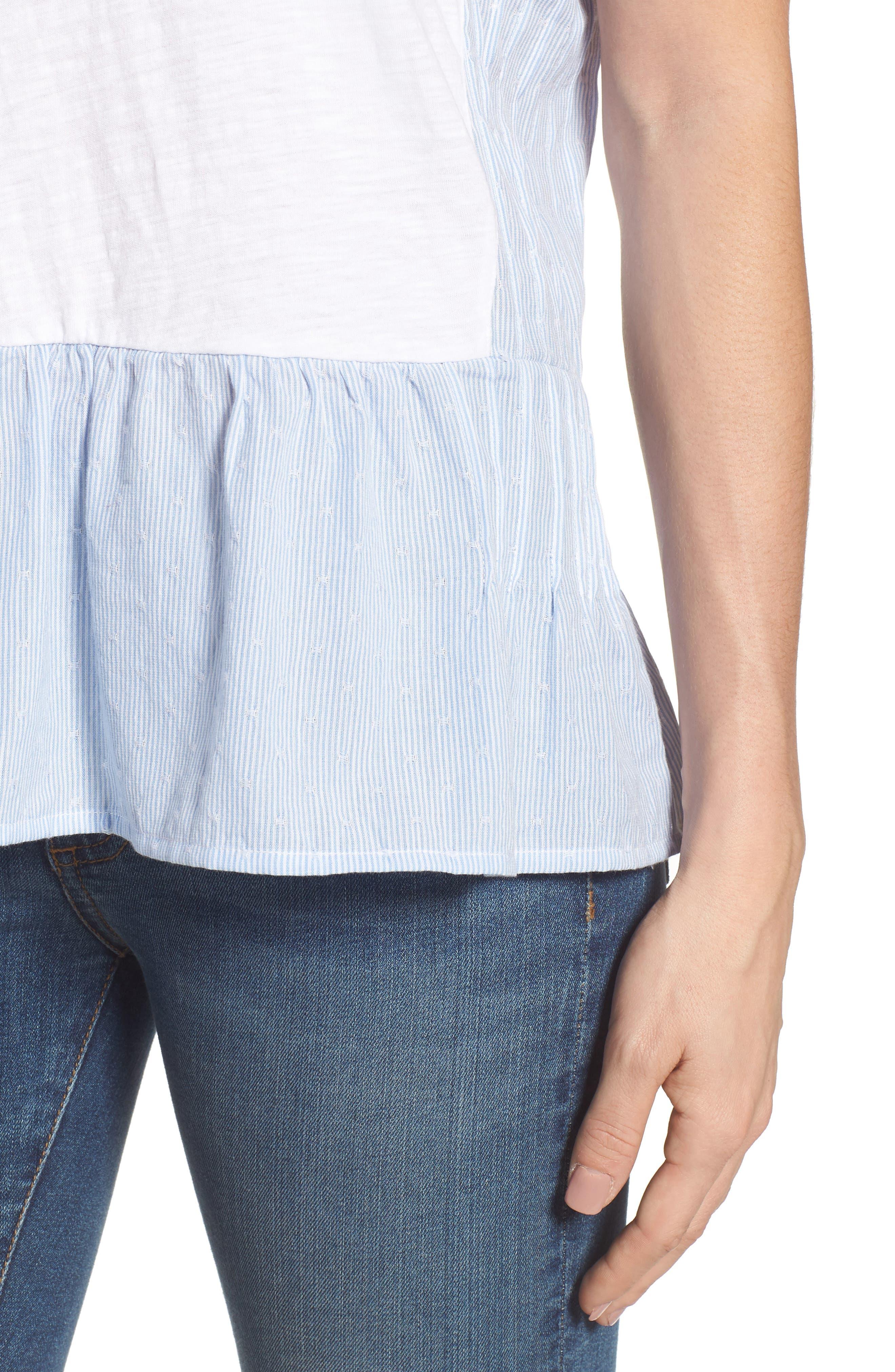 Layered Look Tee,                             Alternate thumbnail 4, color,                             White- Blue White Dobby Stripe