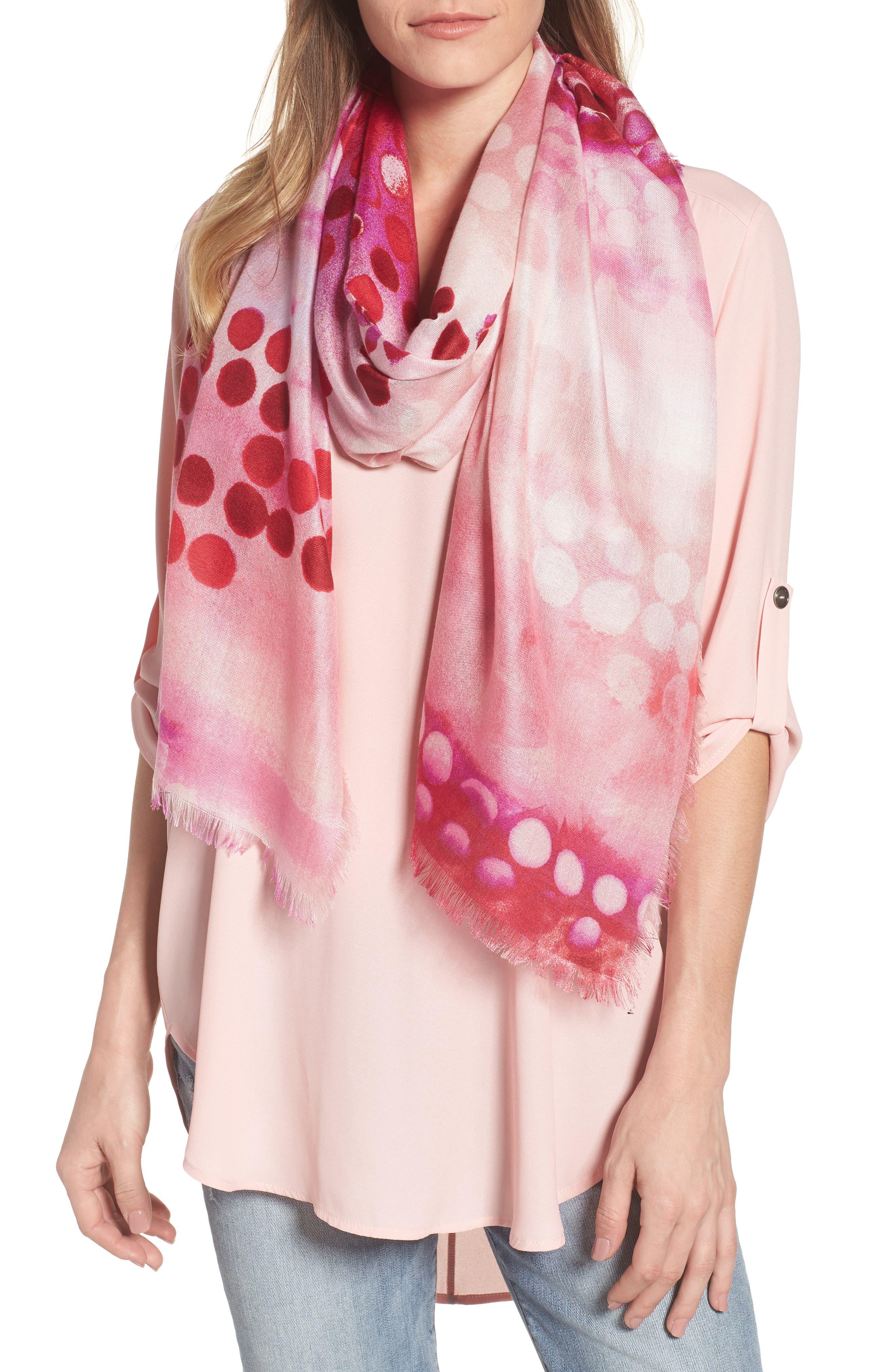 Eyelash Trim Print Cashmere & Silk Wrap,                         Main,                         color, Pink Maximal Polka Dots