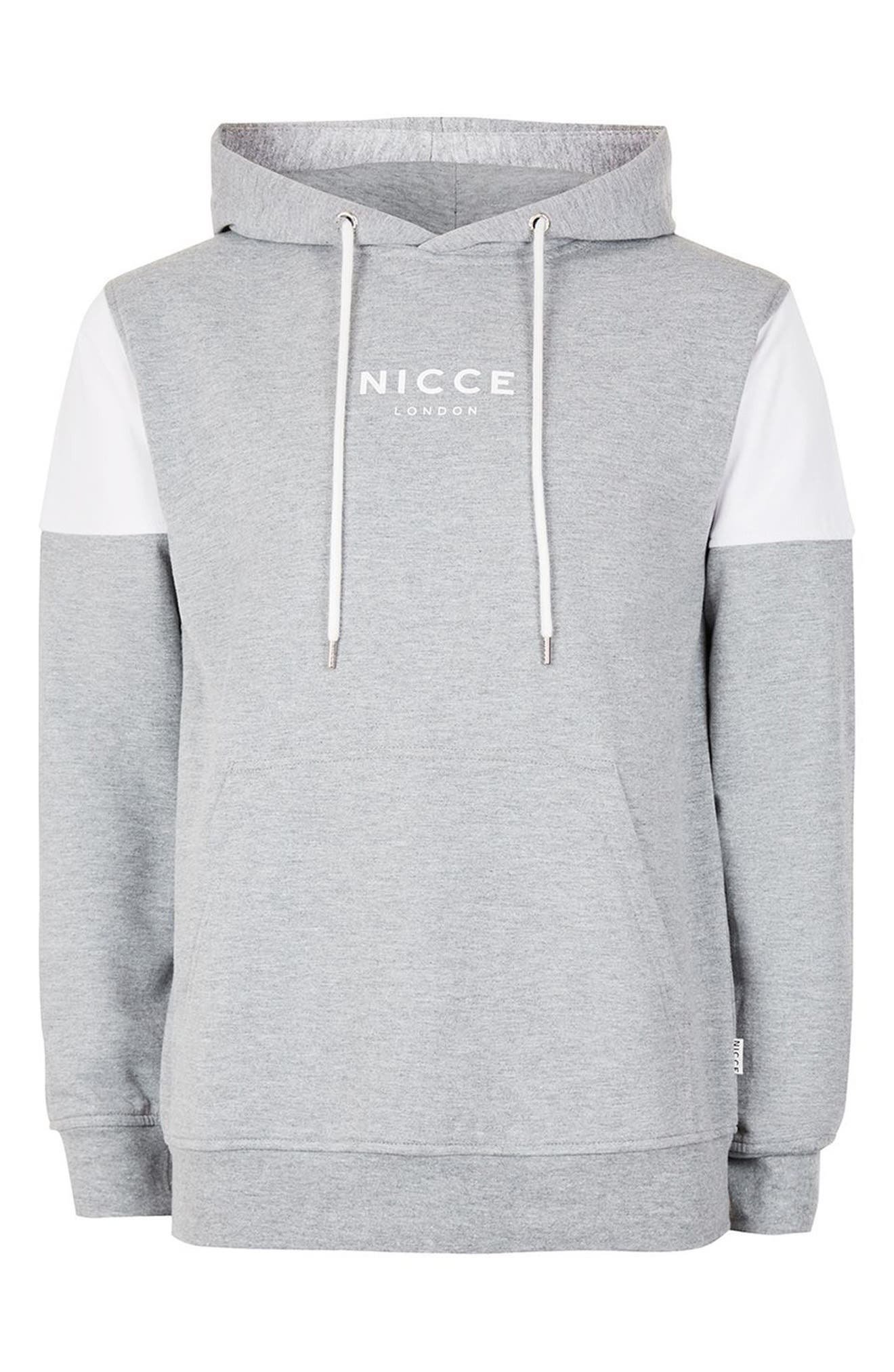 NICCE Slim Fit Colorblock Hoodie,                             Alternate thumbnail 4, color,                             Light Grey Multi