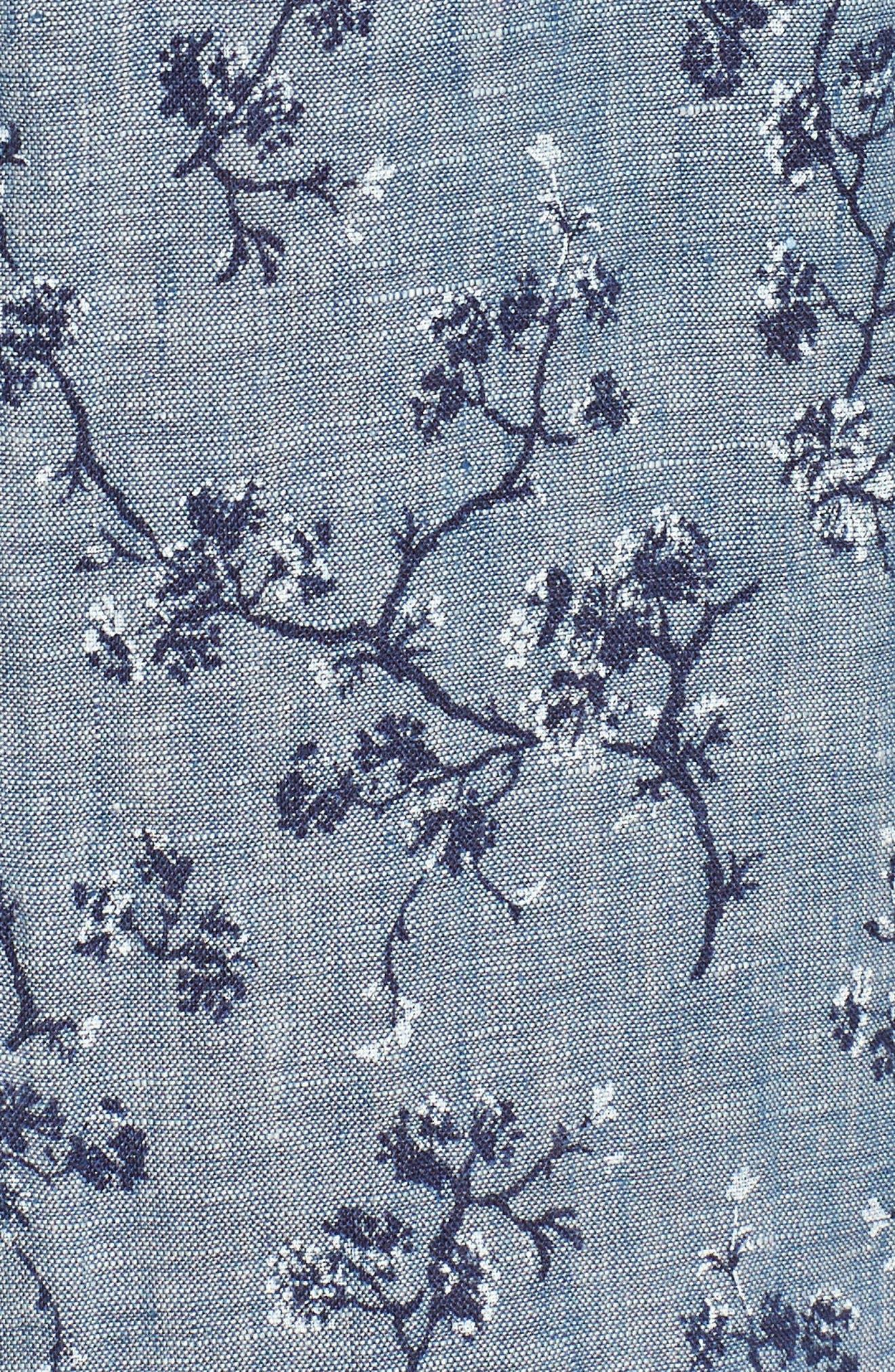 Trim Fit Floral Sport Shirt,                             Alternate thumbnail 5, color,                             Indigo