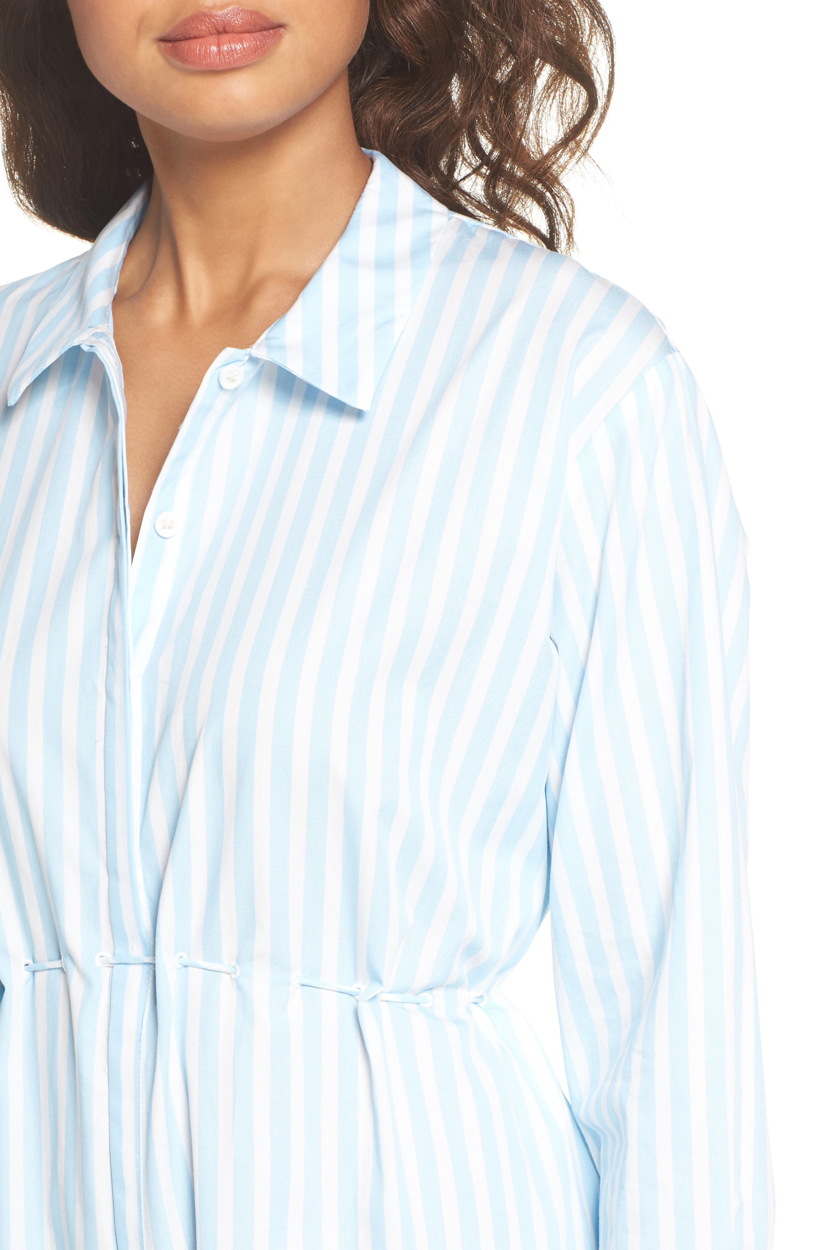 Smithson Stripe Shirtdress,                             Alternate thumbnail 4, color,                             Dream Blue