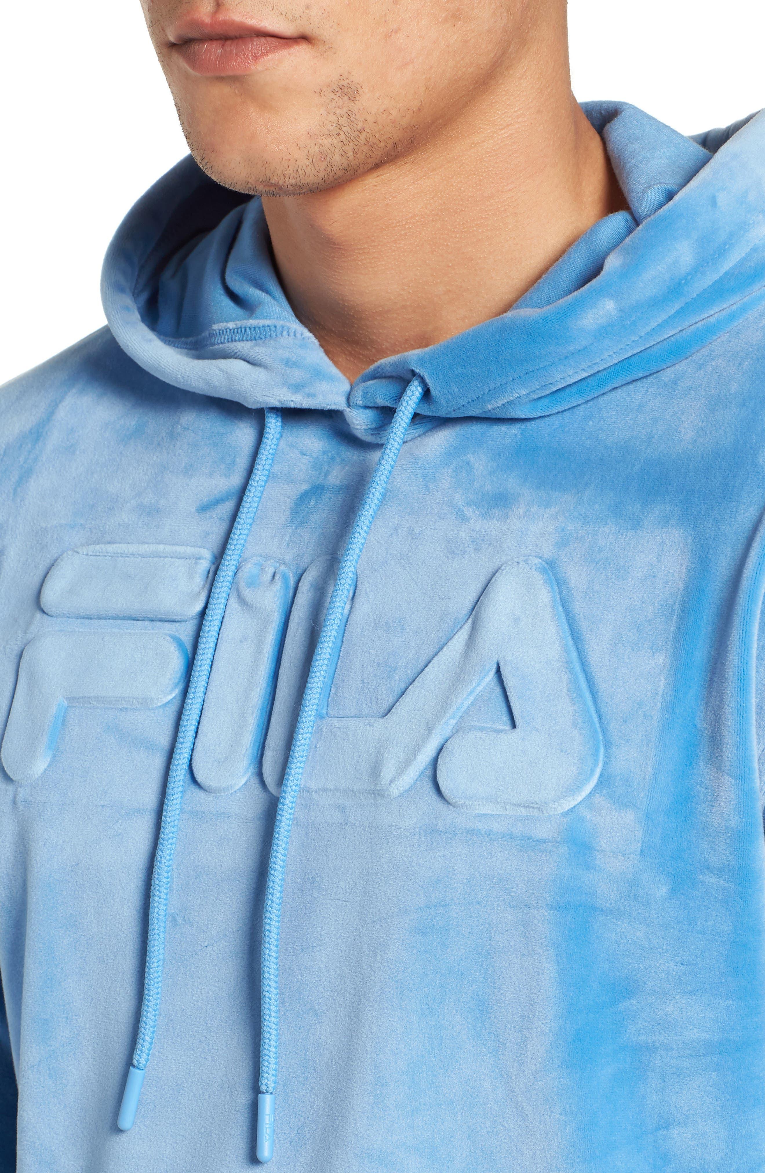 Asher Velour Hoodie Sweatshirt,                             Alternate thumbnail 4, color,                             Silver Lake Blue