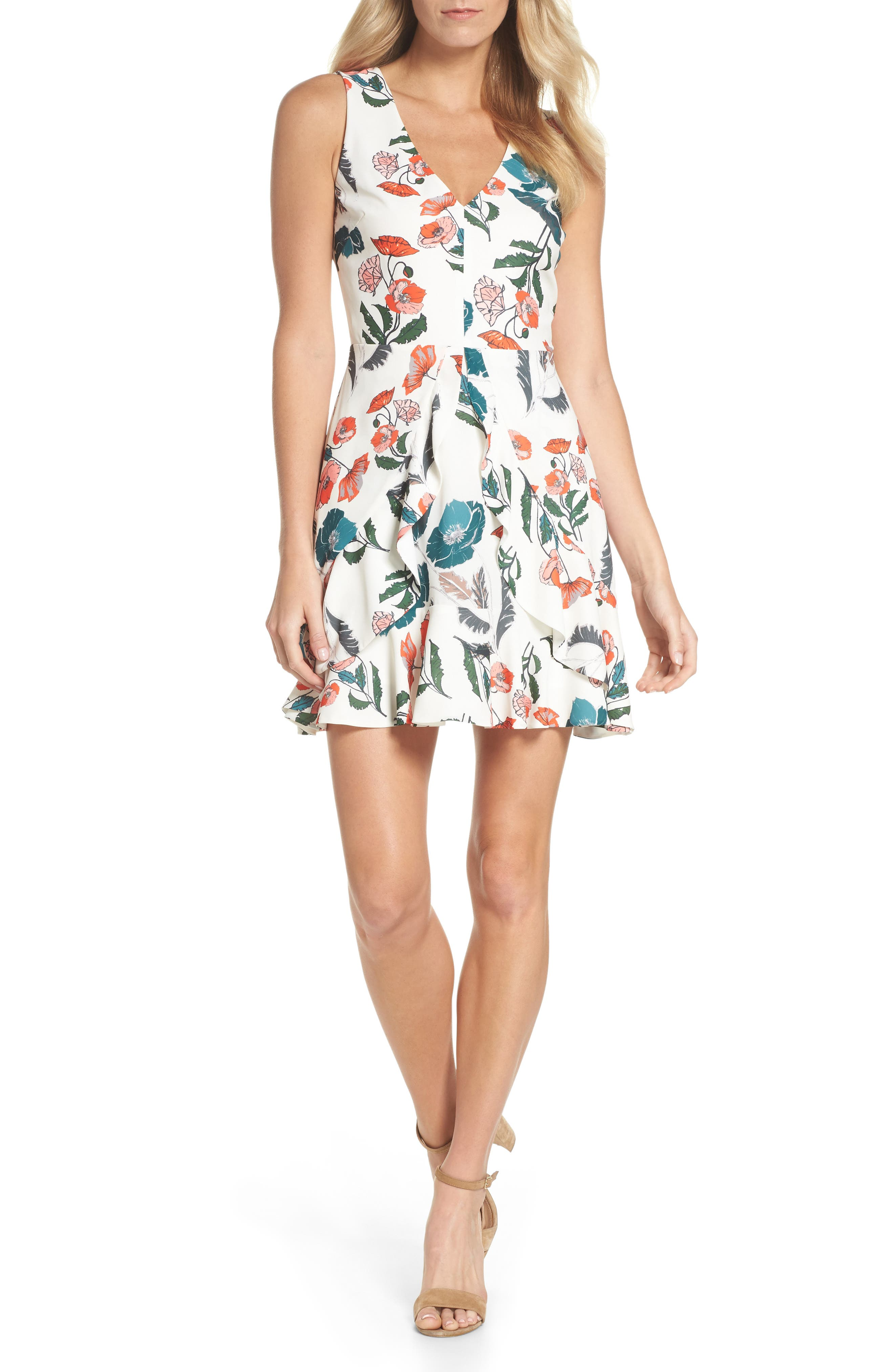 Eden Fit & Flare Dress,                         Main,                         color, White/ Melon